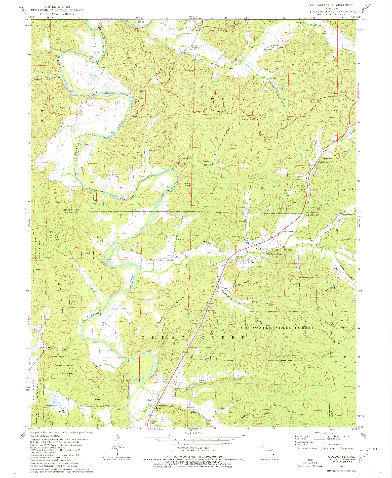 USGS 1:24000-SCALE QUADRANGLE FOR COLDWATER, MO 1980