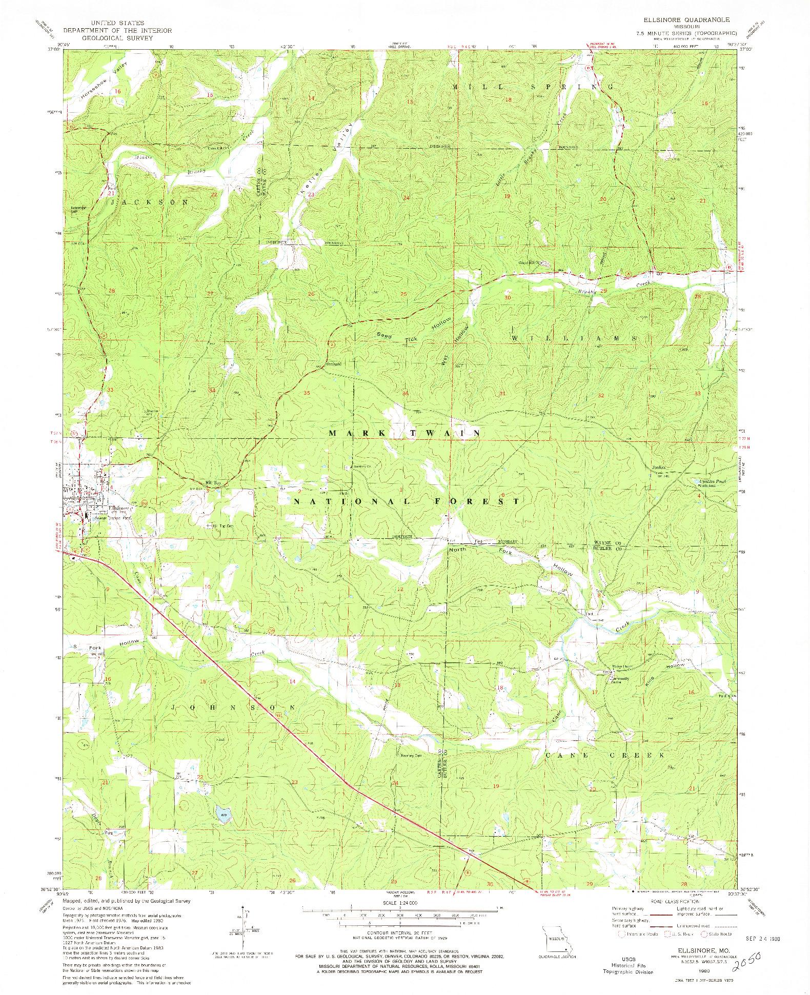 USGS 1:24000-SCALE QUADRANGLE FOR ELLSINORE, MO 1980