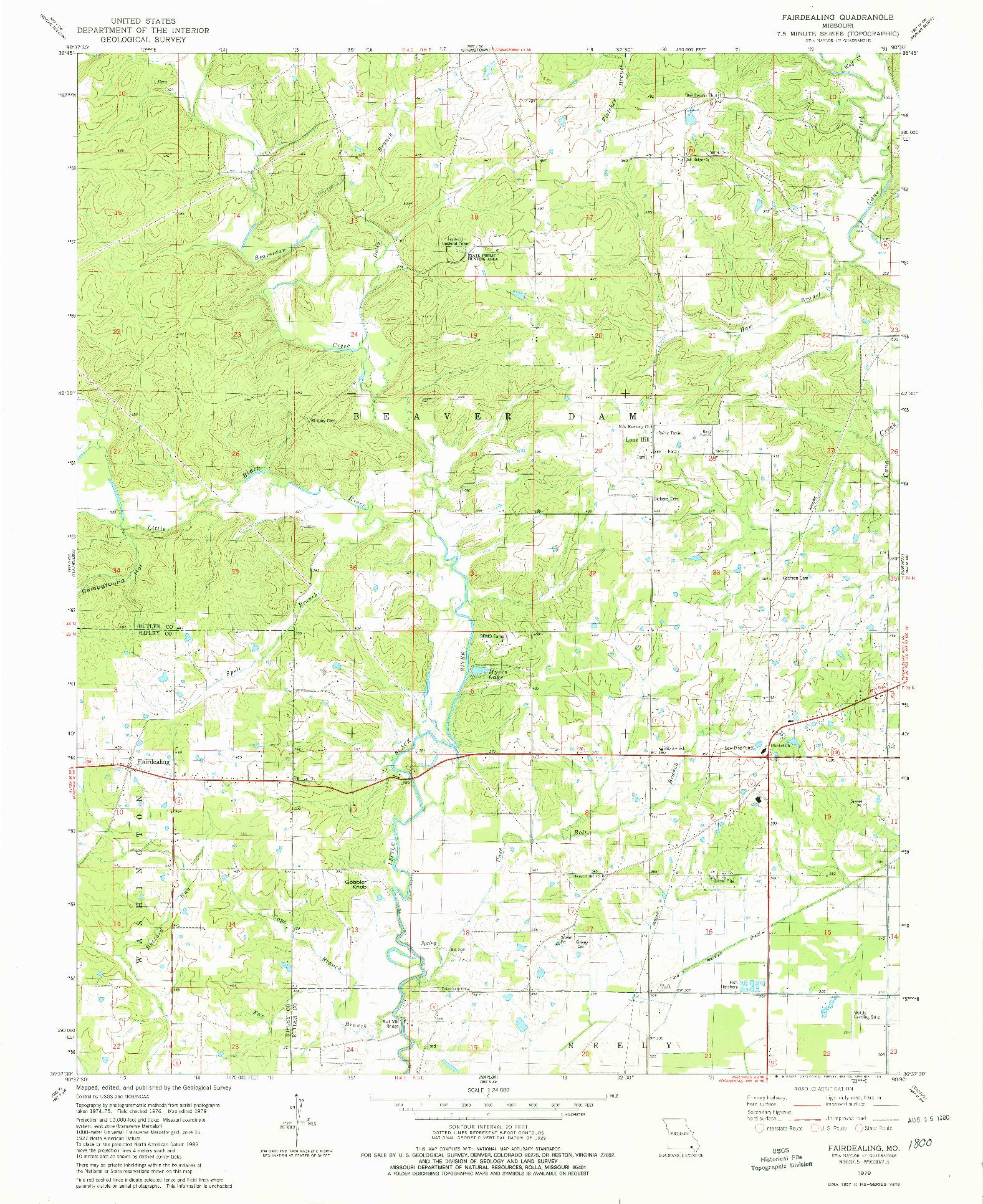 USGS 1:24000-SCALE QUADRANGLE FOR FAIRDEALING, MO 1979