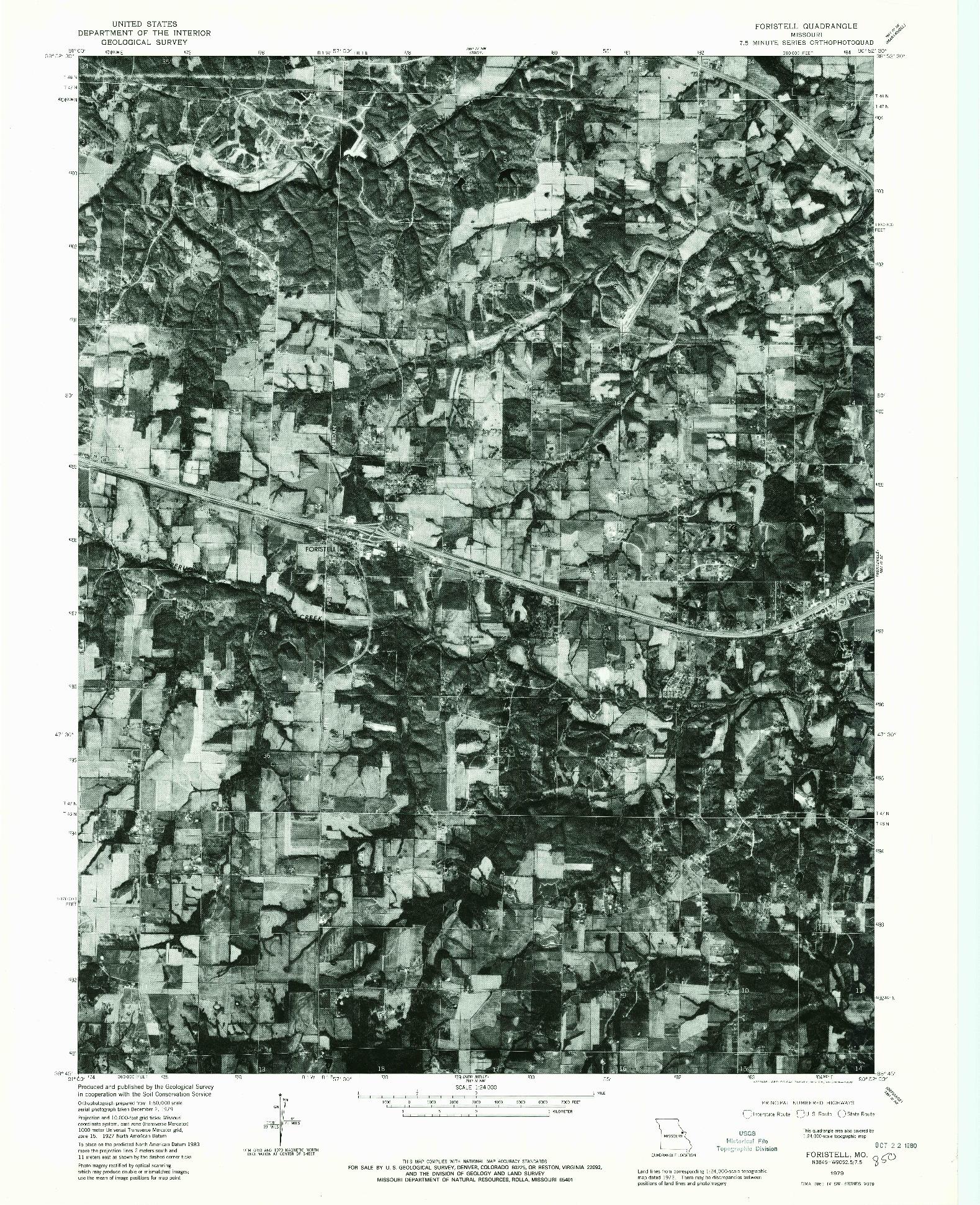 USGS 1:24000-SCALE QUADRANGLE FOR FORISTELL, MO 1979