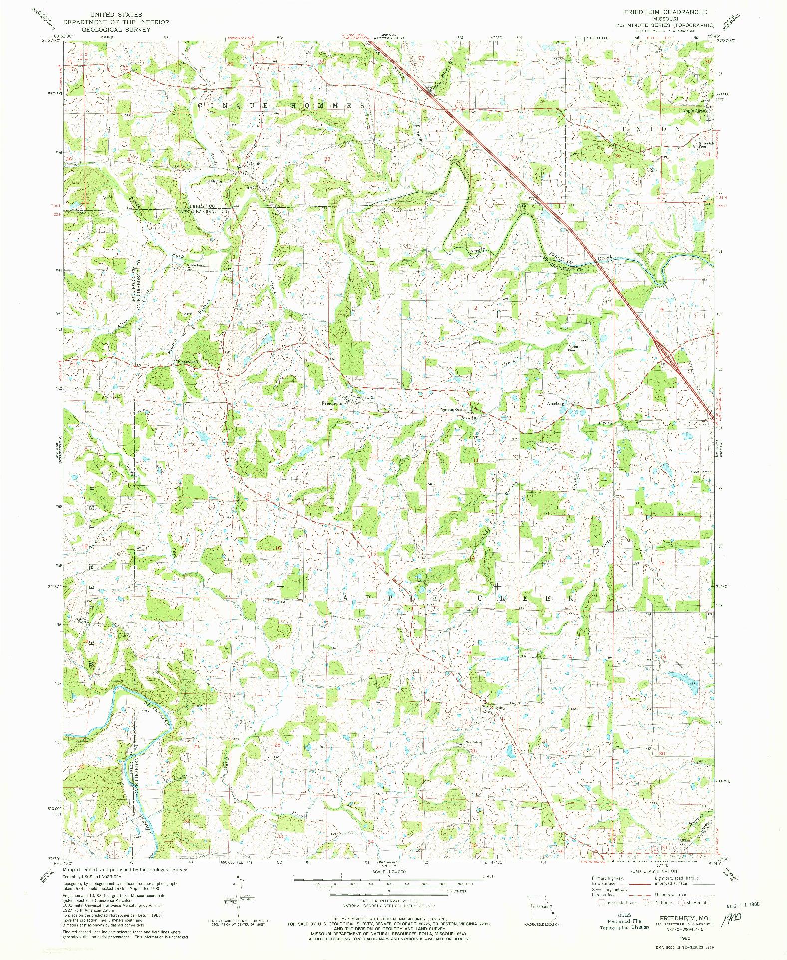 USGS 1:24000-SCALE QUADRANGLE FOR FRIEDHEIM, MO 1980