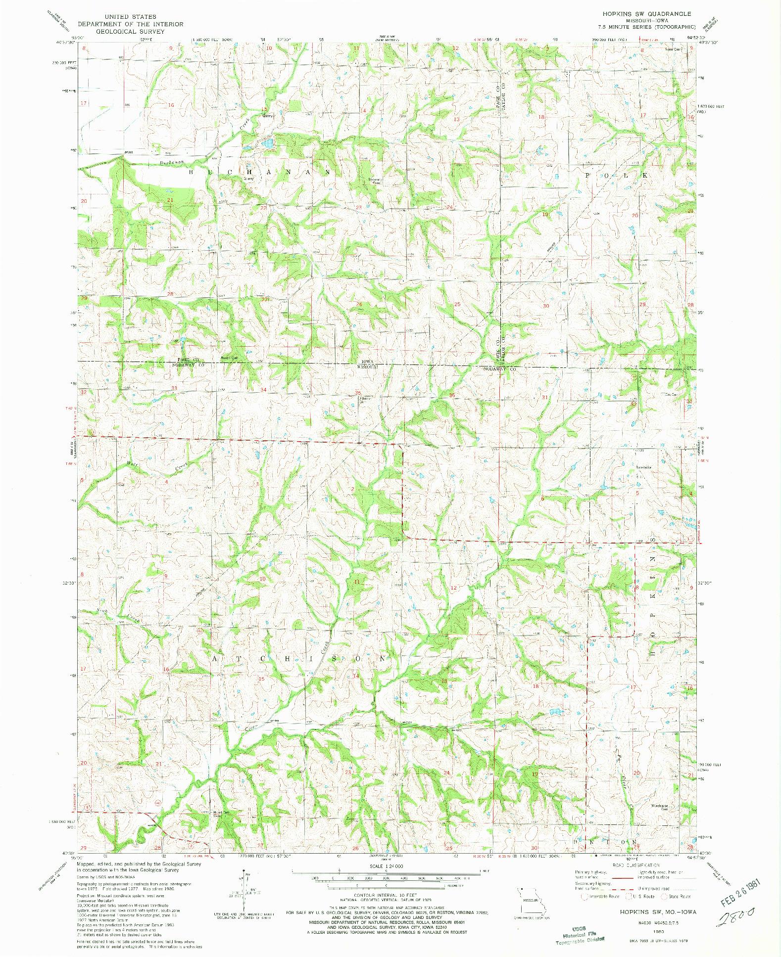 USGS 1:24000-SCALE QUADRANGLE FOR HOPKINS SW, MO 1980