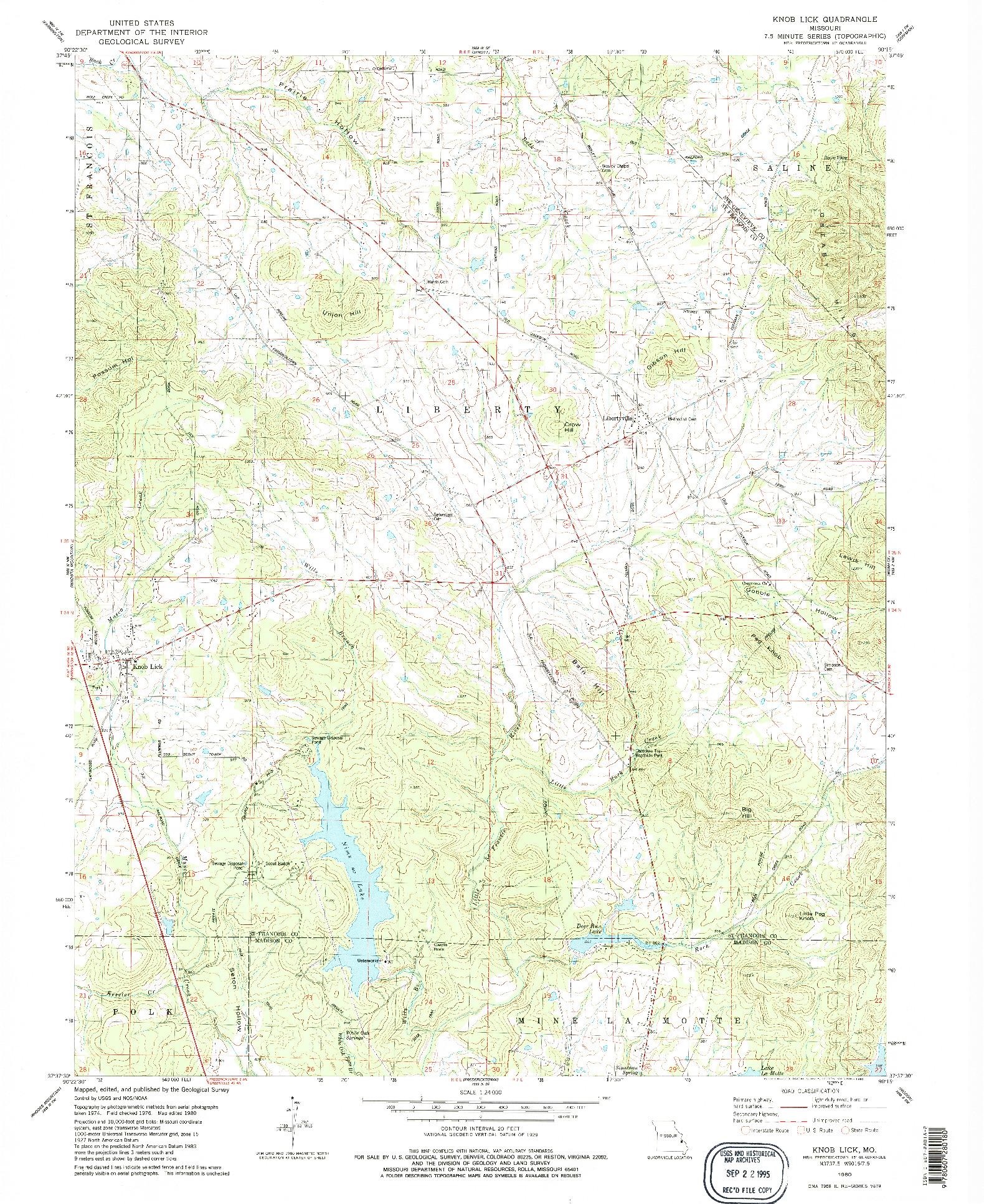 USGS 1:24000-SCALE QUADRANGLE FOR KNOB LICK, MO 1980