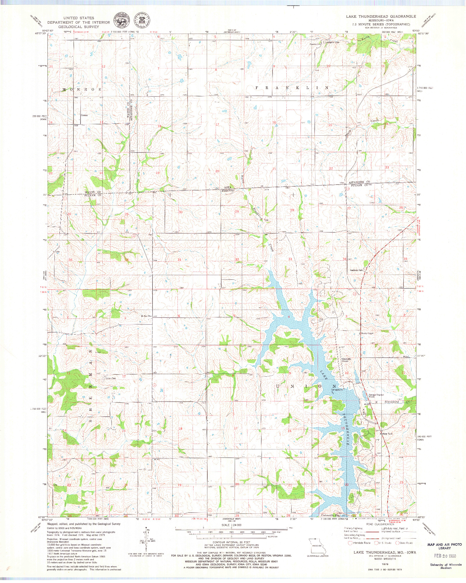 USGS 1:24000-SCALE QUADRANGLE FOR LAKE THUNDERHEAD, MO 1979