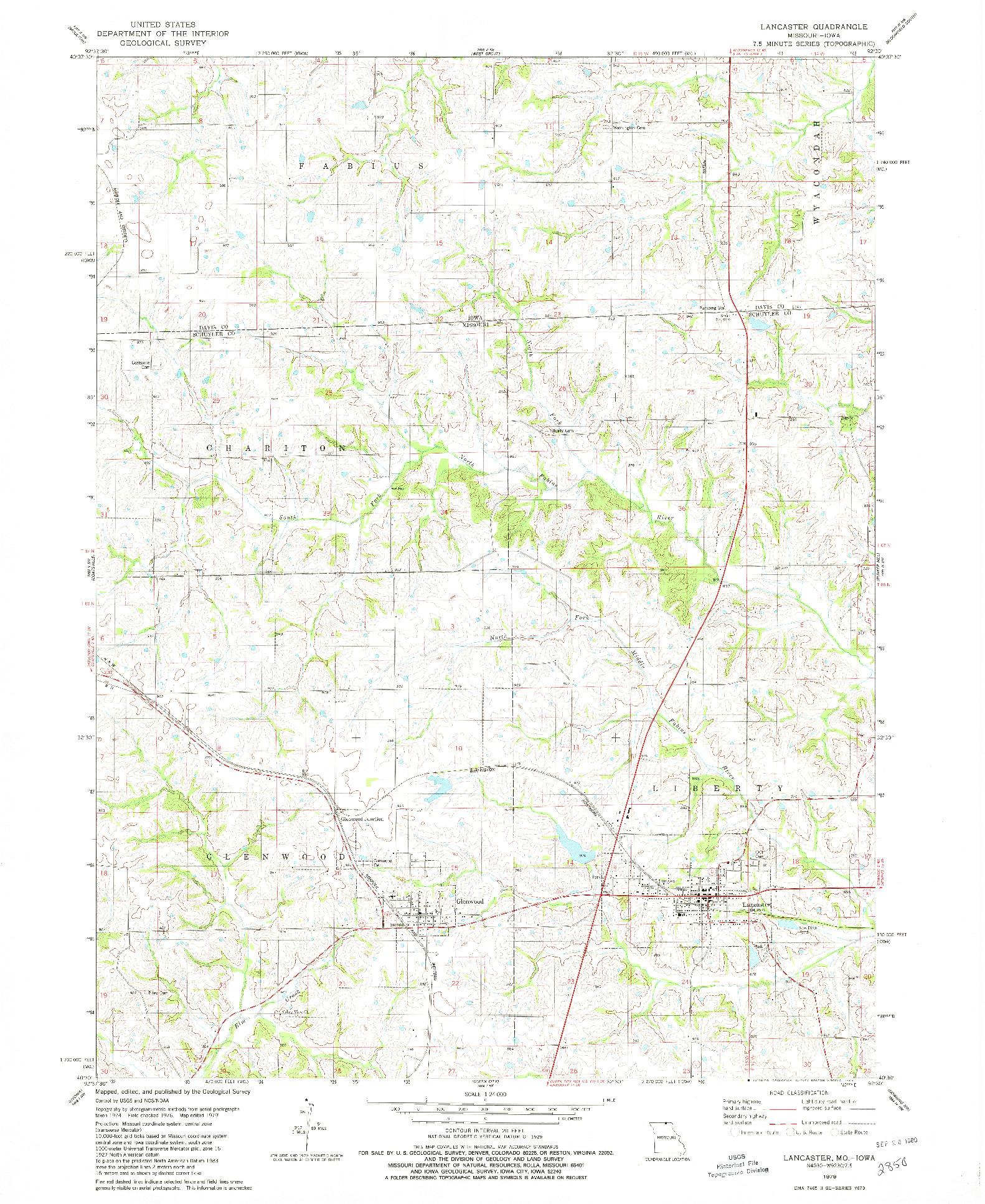 USGS 1:24000-SCALE QUADRANGLE FOR LANCASTER, MO 1979