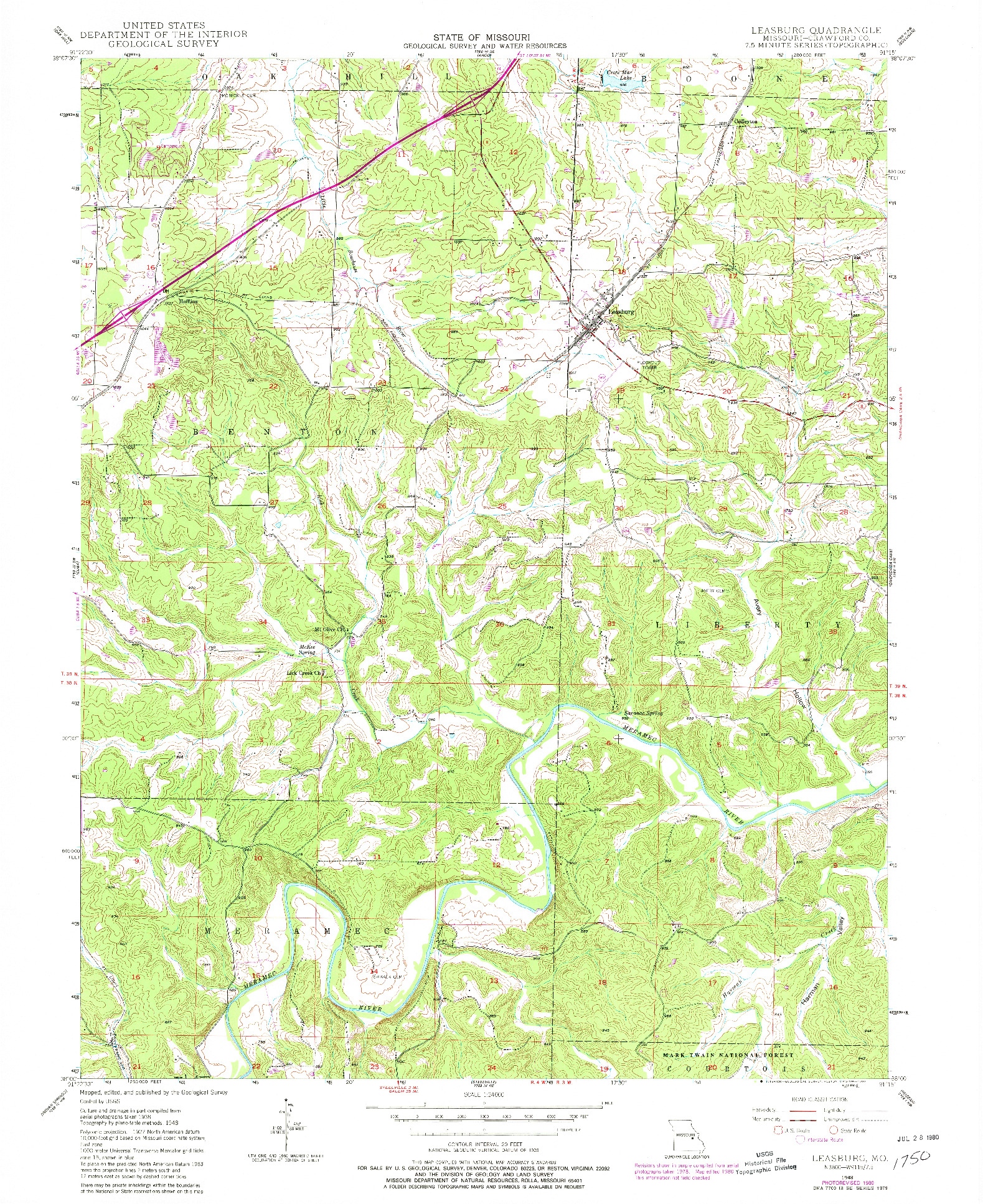 USGS 1:24000-SCALE QUADRANGLE FOR LEASBURG, MO 1948