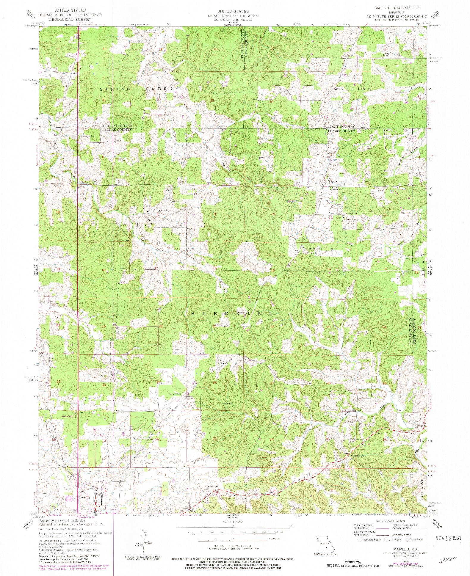 USGS 1:24000-SCALE QUADRANGLE FOR MAPLES, MO 1954
