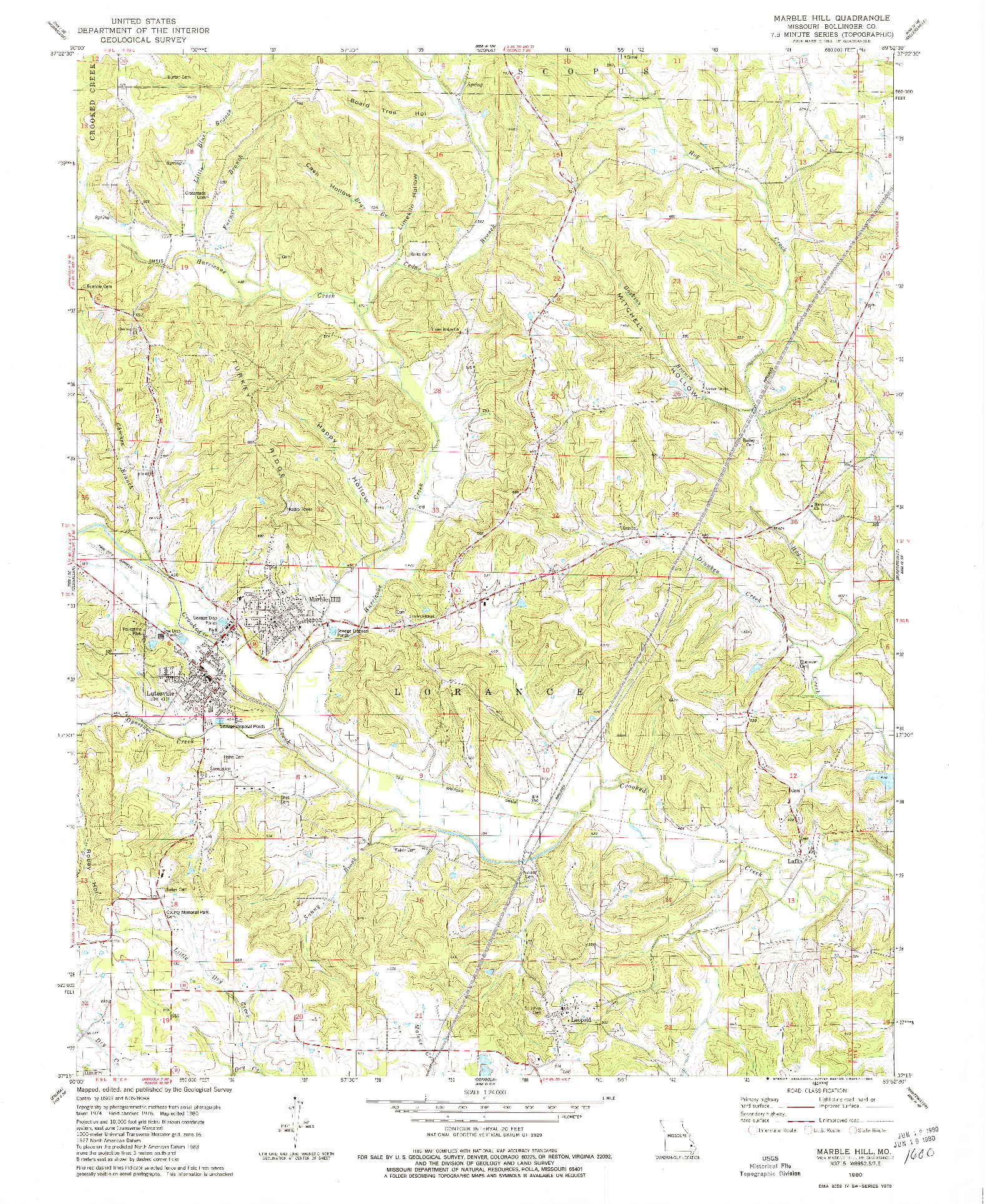 USGS 1:24000-SCALE QUADRANGLE FOR MARBLE HILL, MO 1980