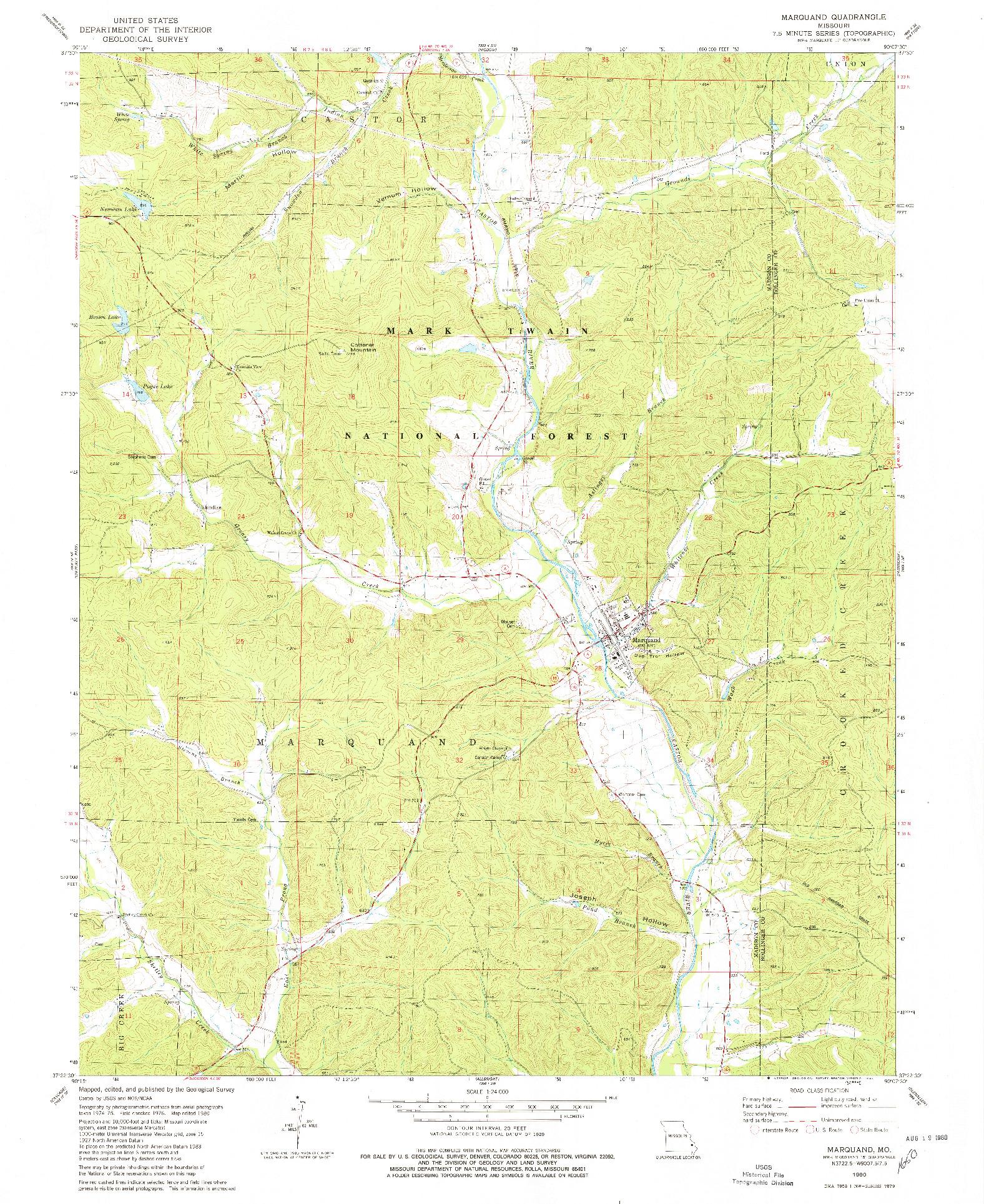 USGS 1:24000-SCALE QUADRANGLE FOR MARQUAND, MO 1980