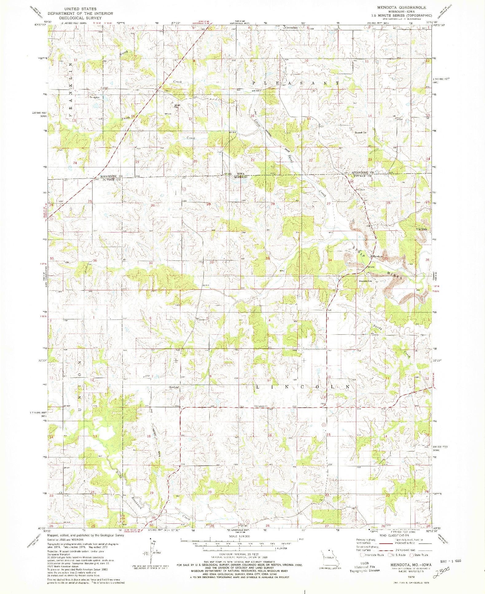 USGS 1:24000-SCALE QUADRANGLE FOR MENDOTA, MO 1979