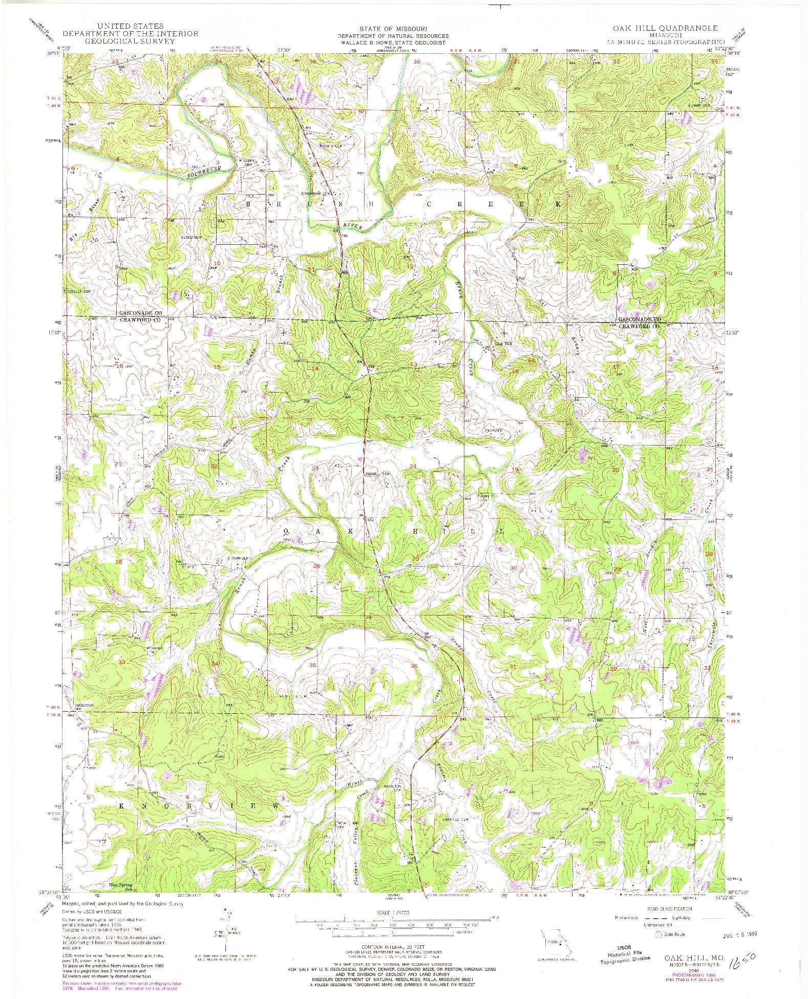 USGS 1:24000-SCALE QUADRANGLE FOR OAK HILL, MO 1948