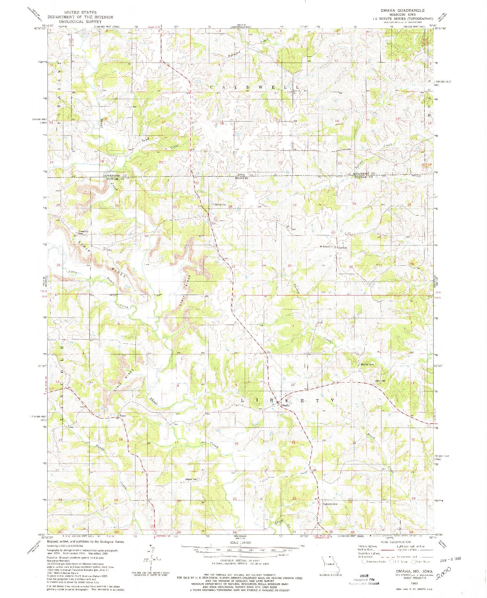 USGS 1:24000-SCALE QUADRANGLE FOR OMAHA, MO 1980