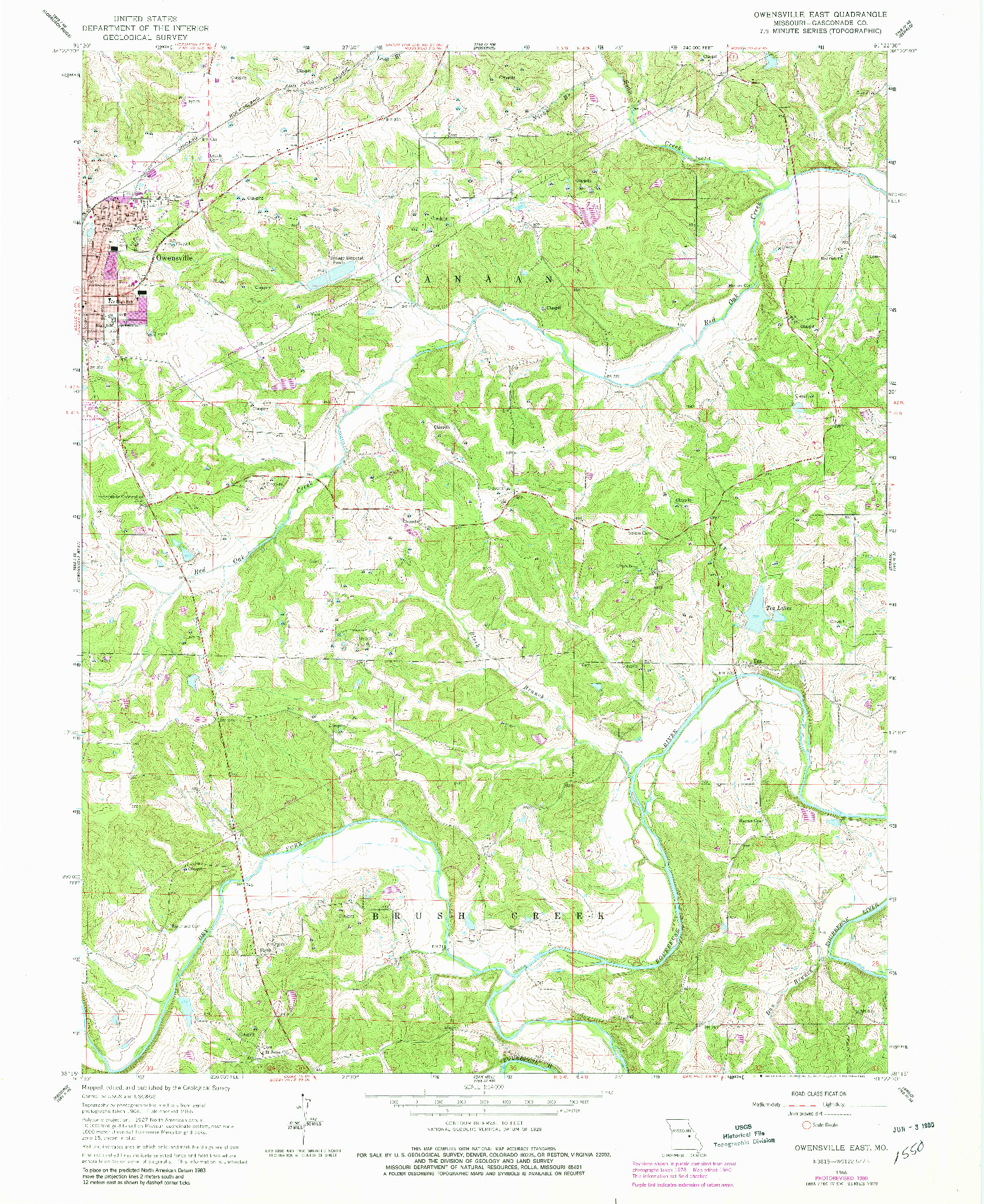 USGS 1:24000-SCALE QUADRANGLE FOR OWENSVILLE EAST, MO 1966
