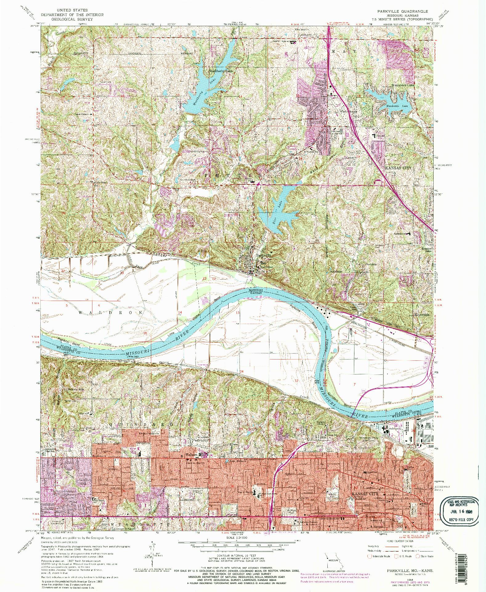 USGS 1:24000-SCALE QUADRANGLE FOR PARKVILLE, MO 1964