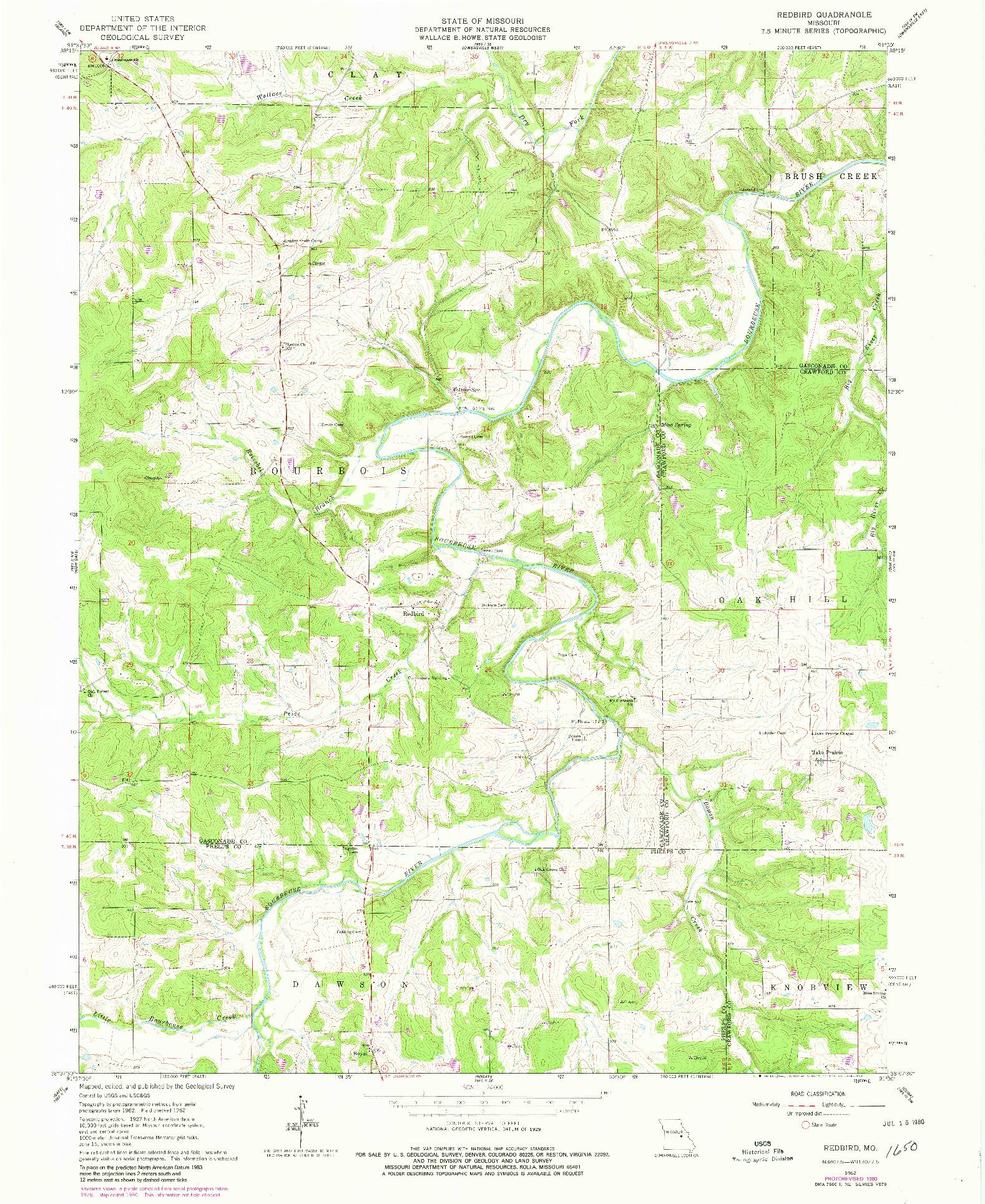 USGS 1:24000-SCALE QUADRANGLE FOR REDBIRD, MO 1962