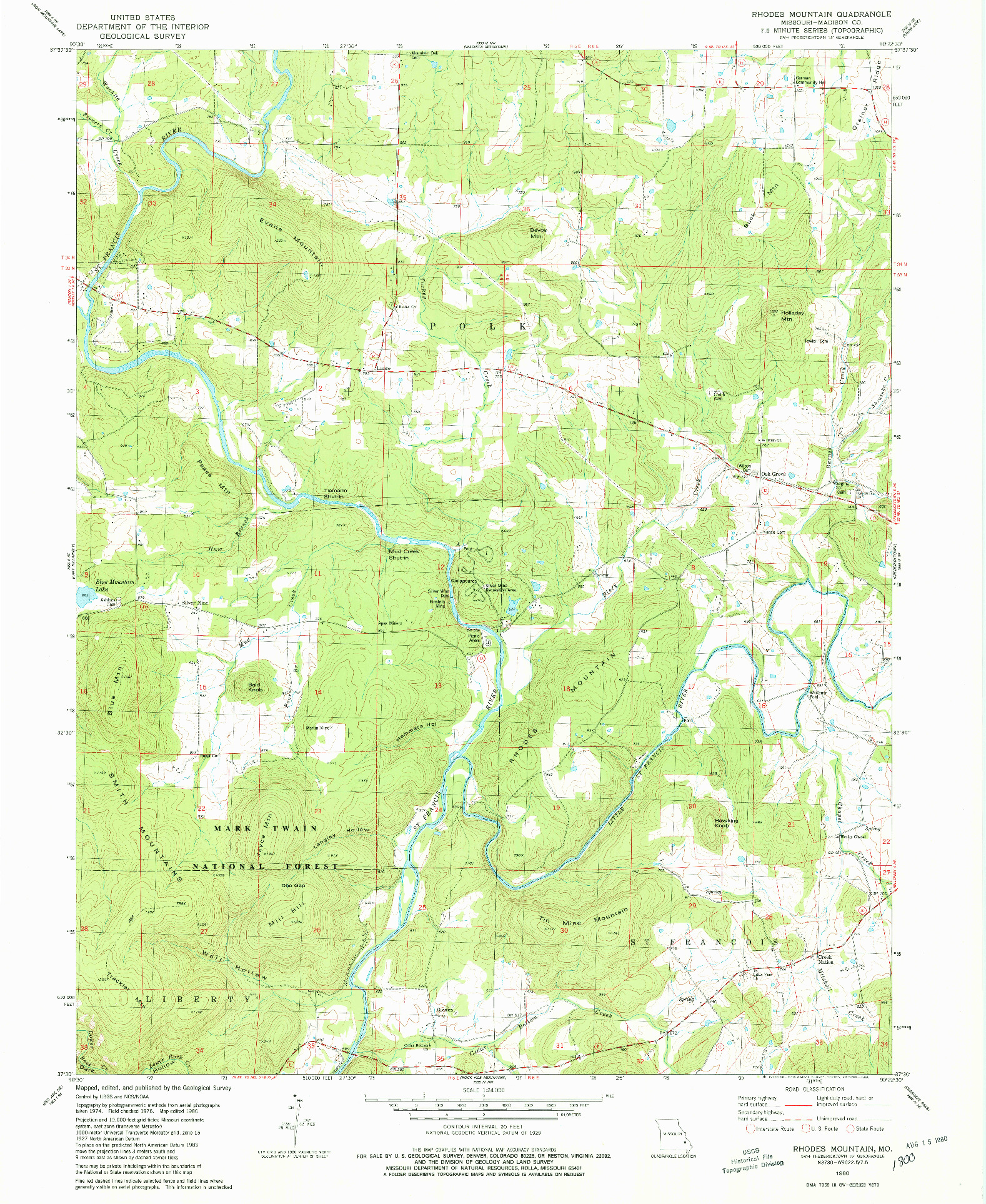 USGS 1:24000-SCALE QUADRANGLE FOR RHODES MOUNTAIN, MO 1980