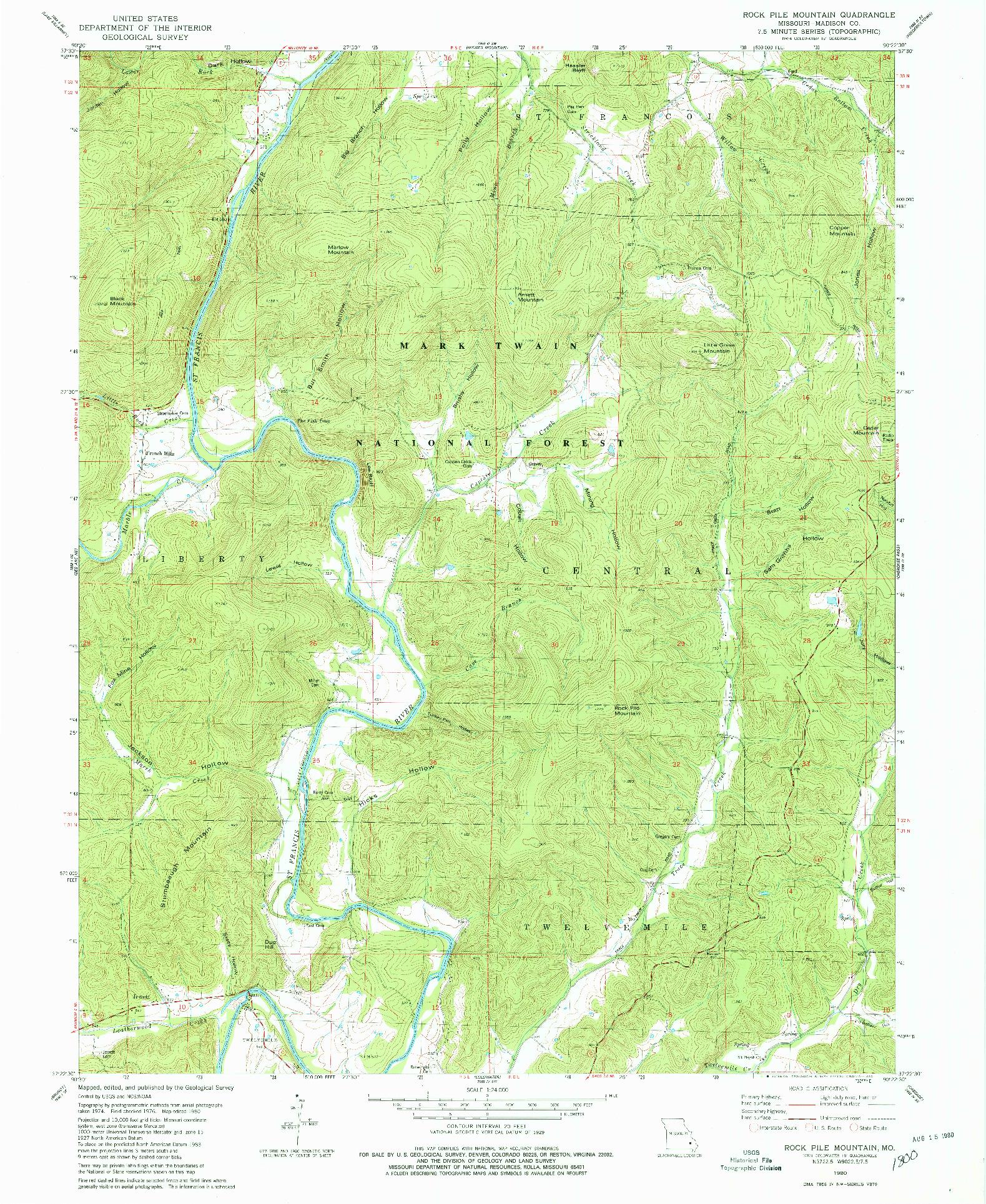 USGS 1:24000-SCALE QUADRANGLE FOR ROCK PILE MOUNTAIN, MO 1980