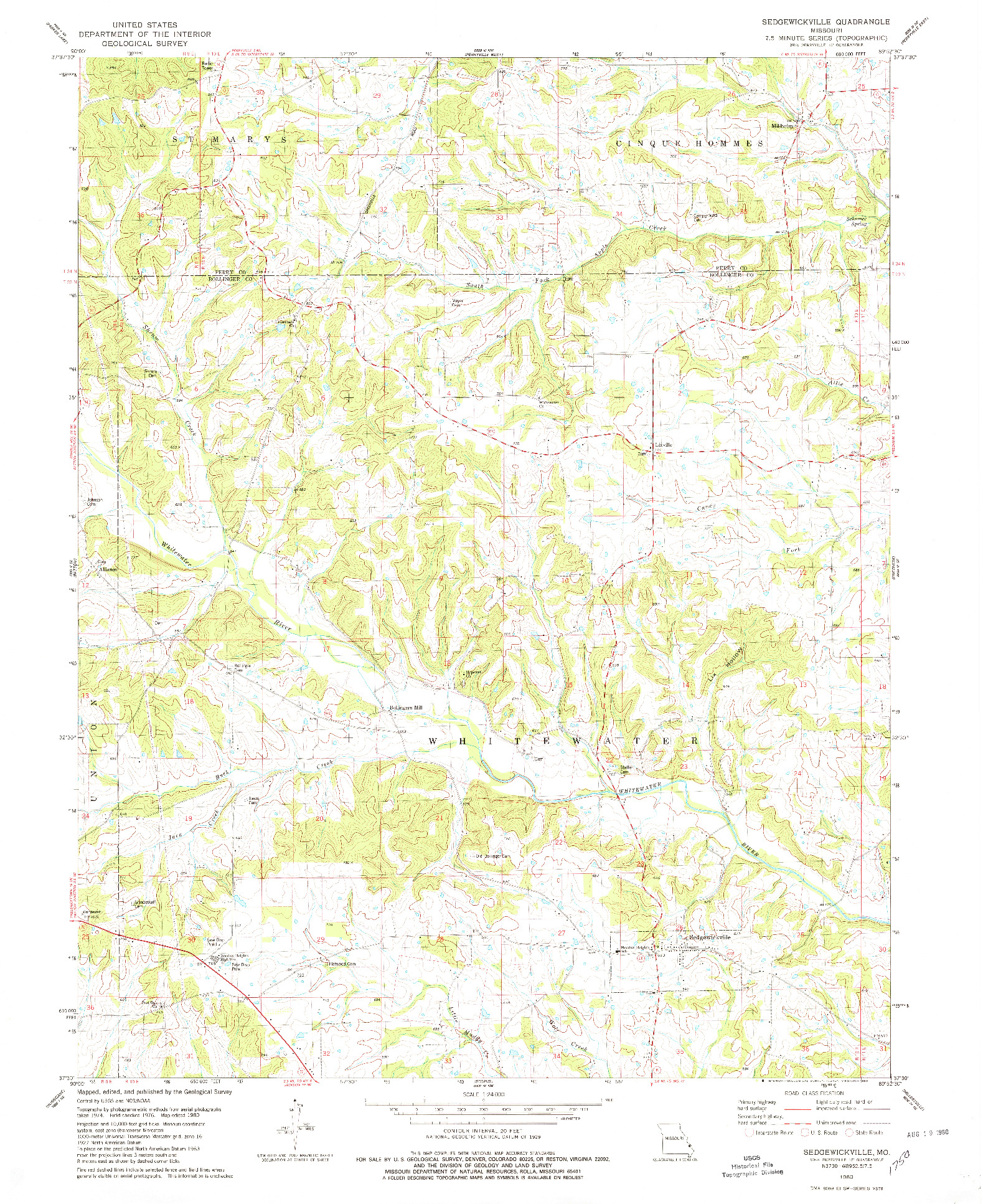 USGS 1:24000-SCALE QUADRANGLE FOR SEDGEWICKVILLE, MO 1980