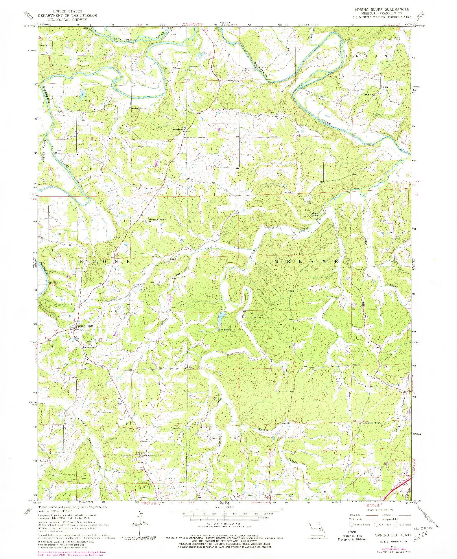 USGS 1:24000-SCALE QUADRANGLE FOR SPRING BLUFF, MO 1966