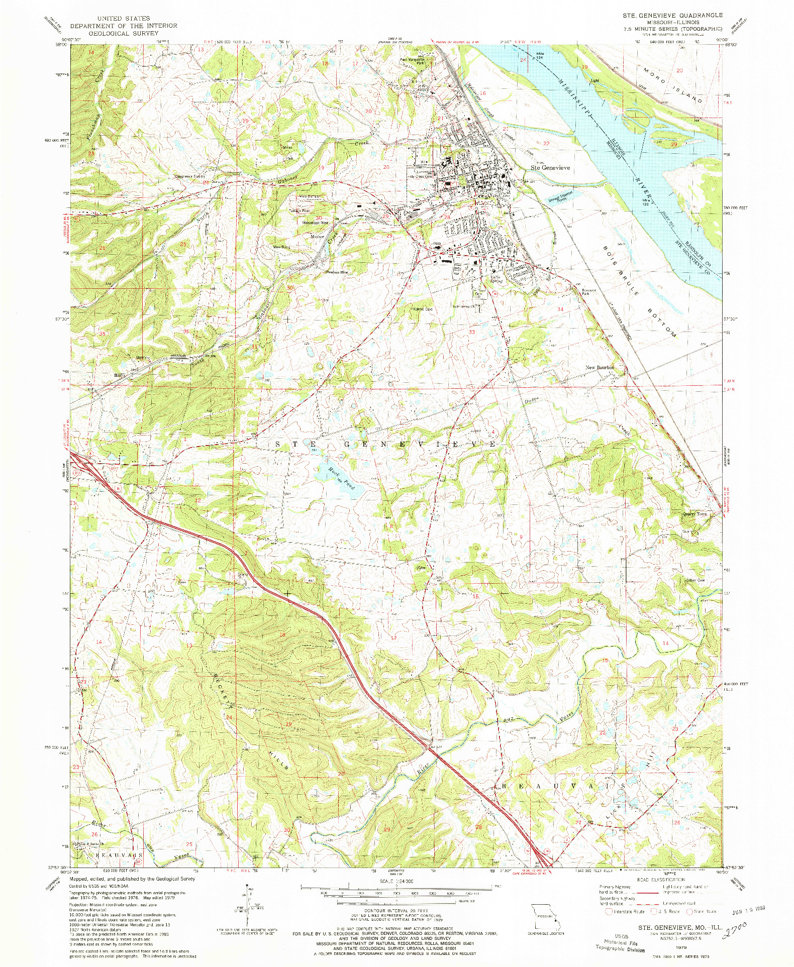 USGS 1:24000-SCALE QUADRANGLE FOR STE. GENEVIEVE, MO 1979