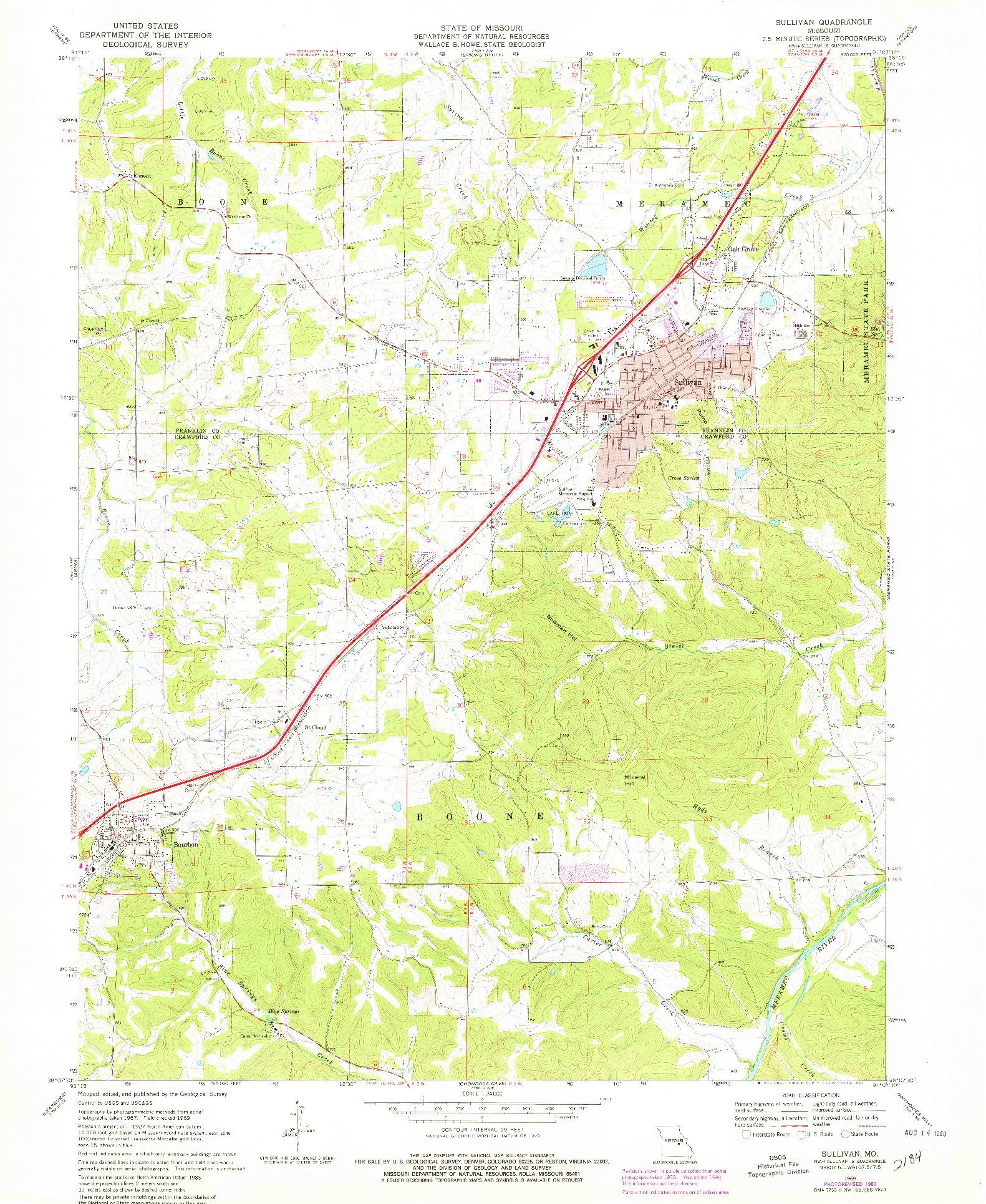 USGS 1:24000-SCALE QUADRANGLE FOR SULLIVAN, MO 1969