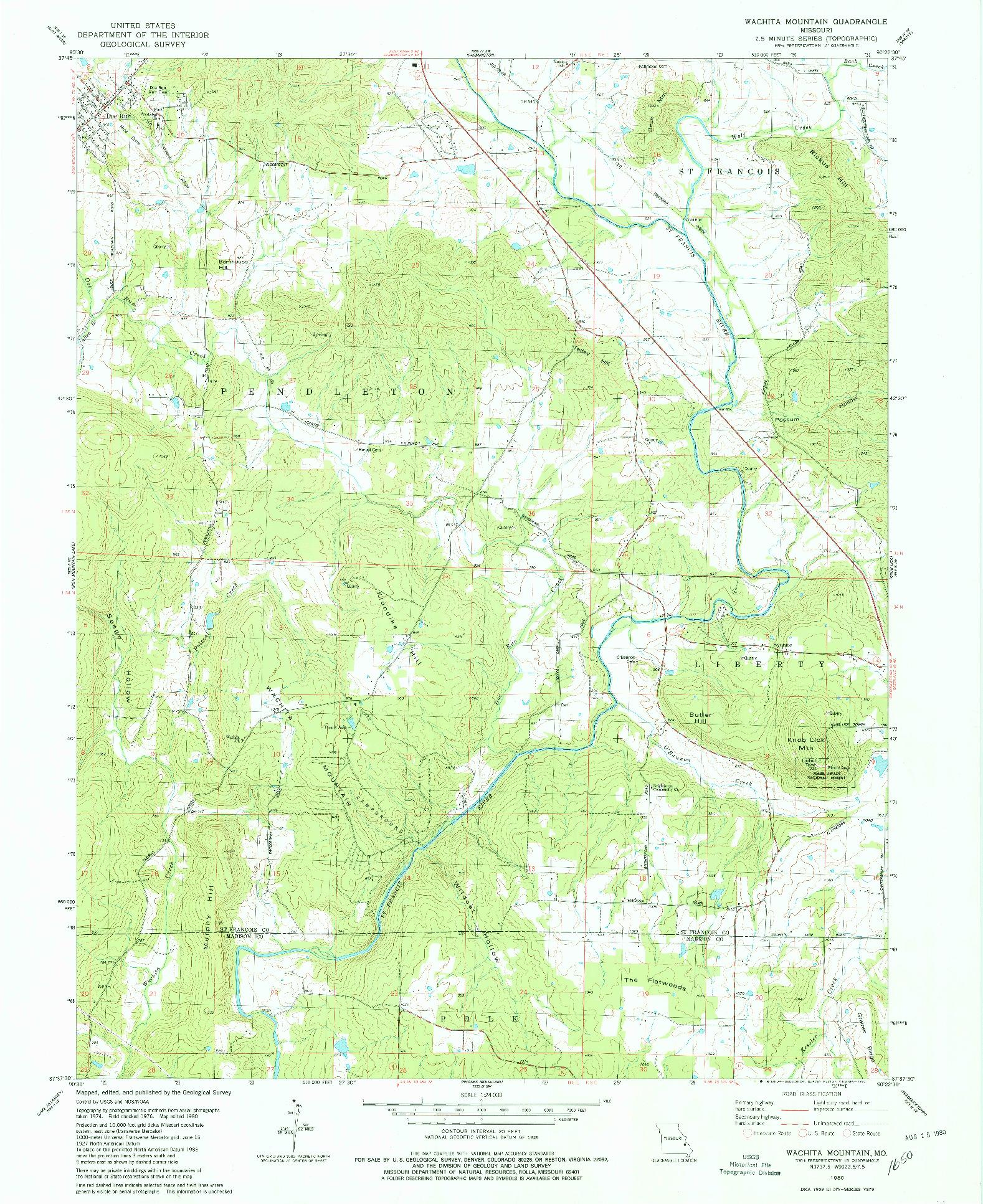 USGS 1:24000-SCALE QUADRANGLE FOR WACHITA MOUNTAIN, MO 1980