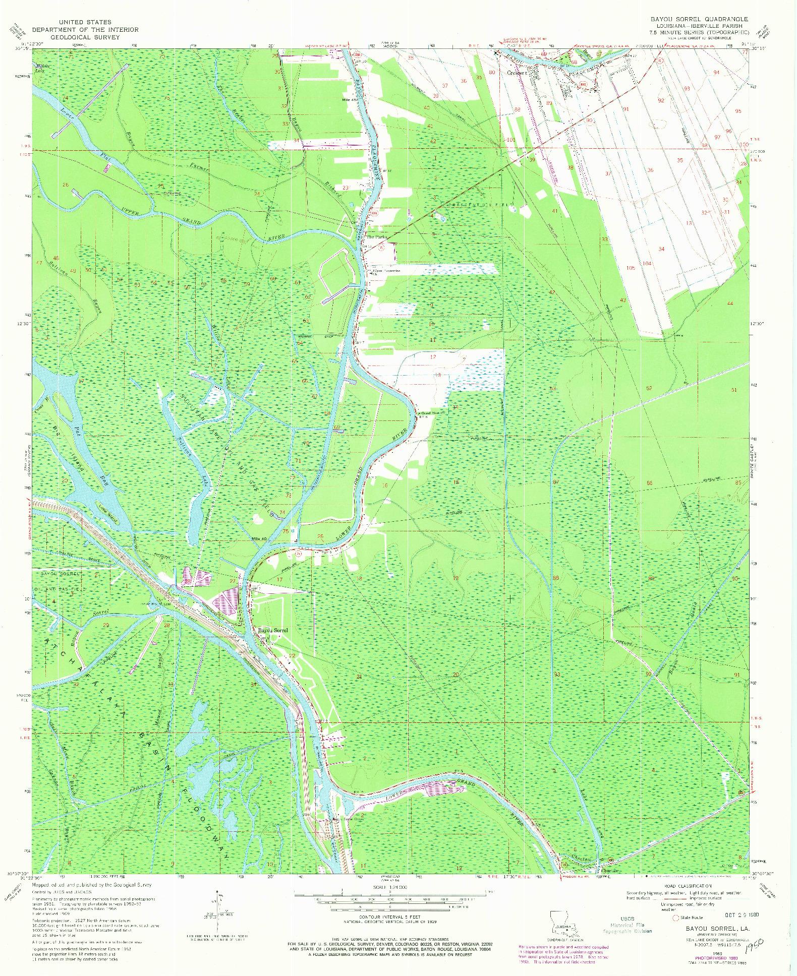 USGS 1:24000-SCALE QUADRANGLE FOR BAYOU SORREL, LA 1969