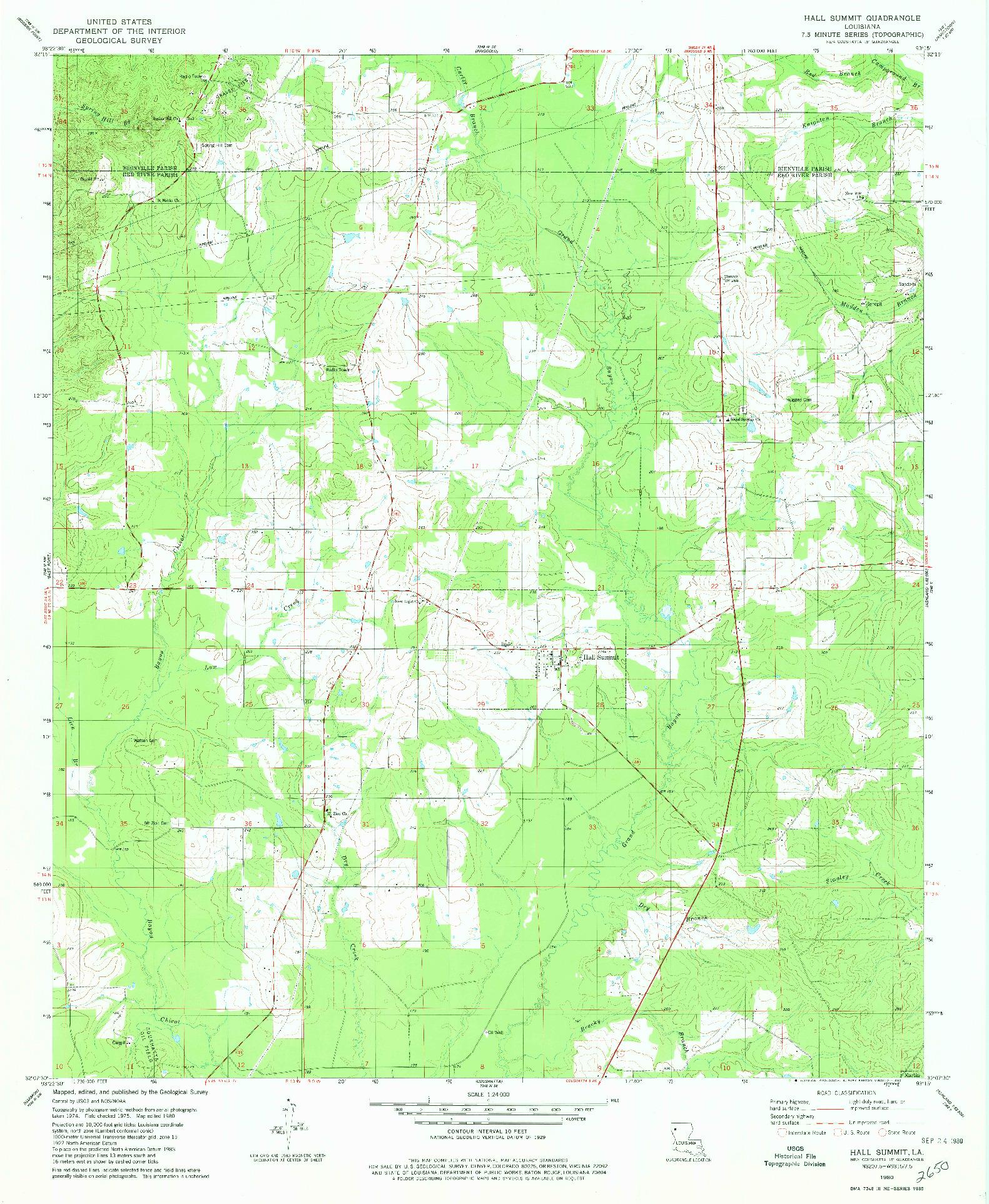 USGS 1:24000-SCALE QUADRANGLE FOR HALL SUMMIT, LA 1980