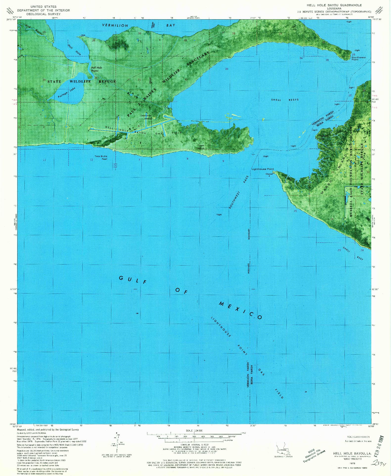 USGS 1:24000-SCALE QUADRANGLE FOR HELL HOLE BAYOU, LA 1979