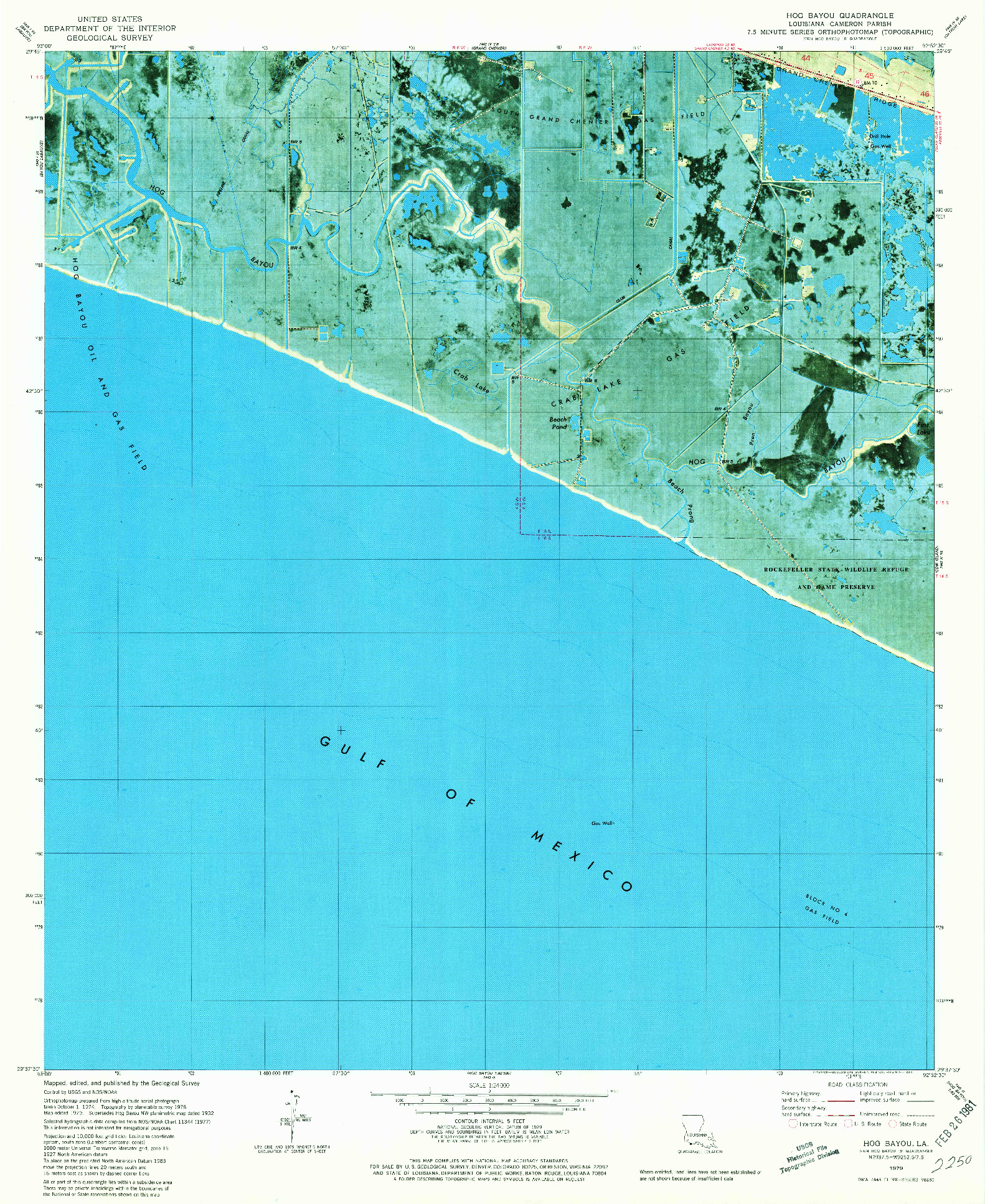 USGS 1:24000-SCALE QUADRANGLE FOR HOG BAYOU, LA 1979