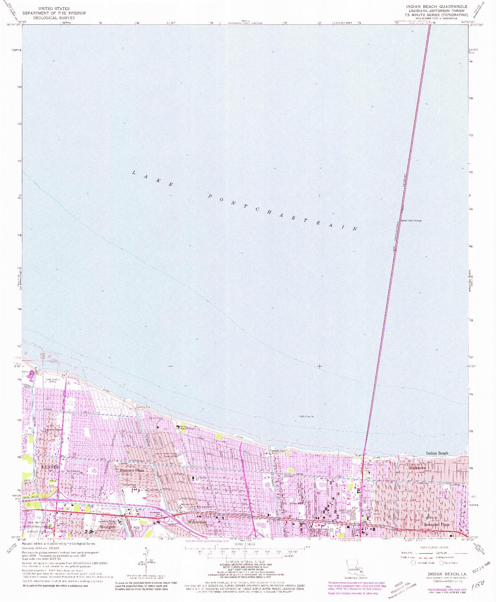 USGS 1:24000-SCALE QUADRANGLE FOR INDIAN BEACH, LA 1965