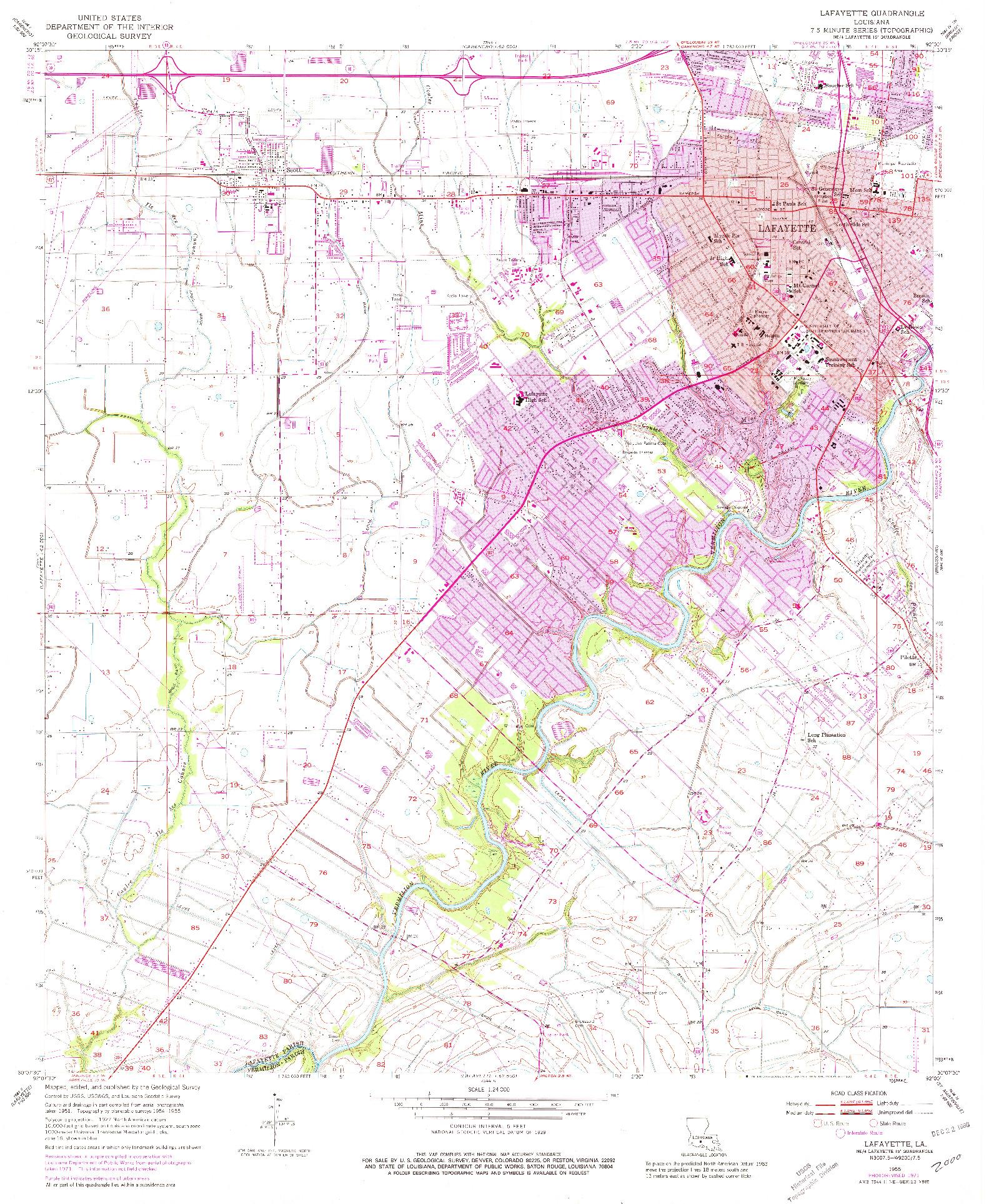 USGS 1:24000-SCALE QUADRANGLE FOR LAFAYETTE, LA 1955