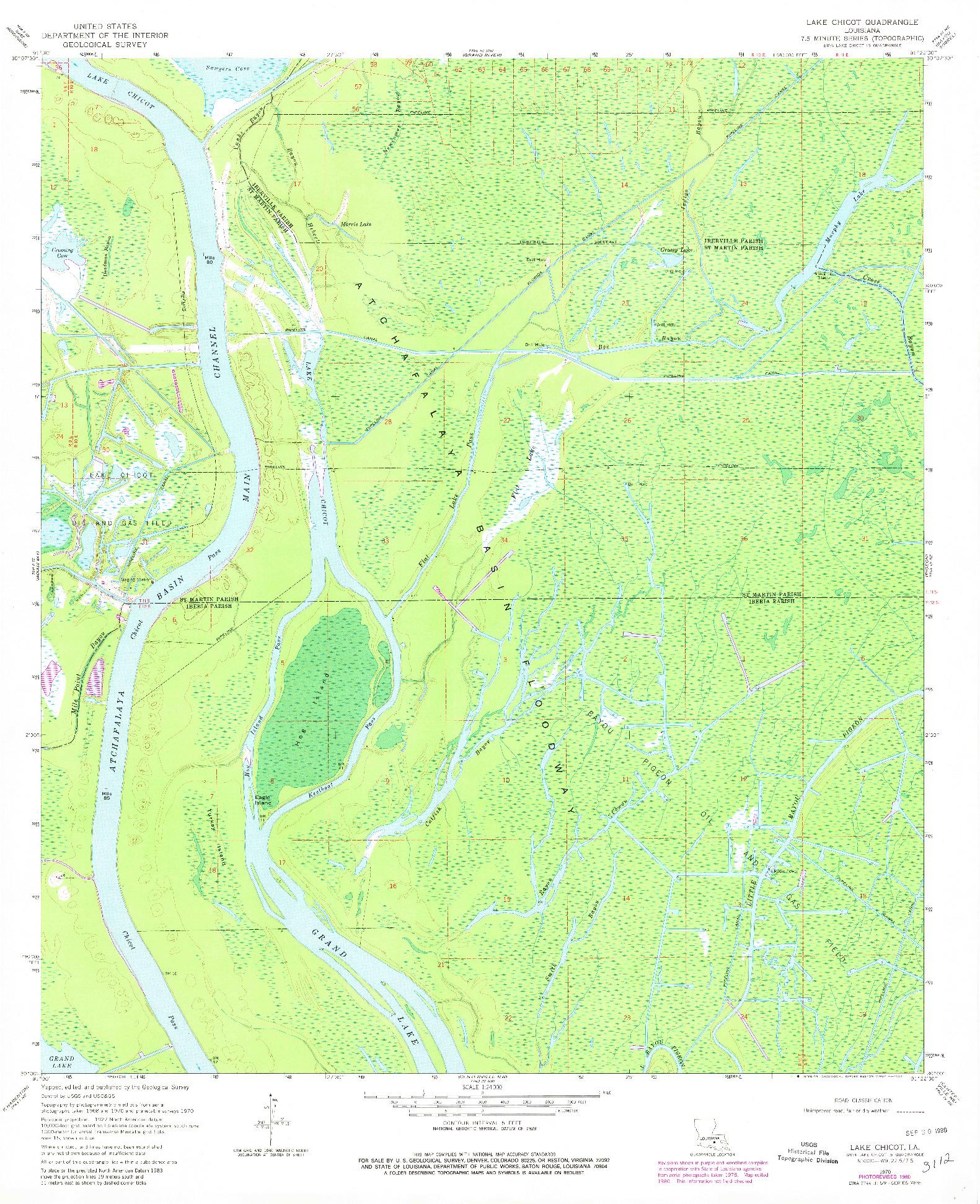USGS 1:24000-SCALE QUADRANGLE FOR LAKE CHICOT, LA 1970