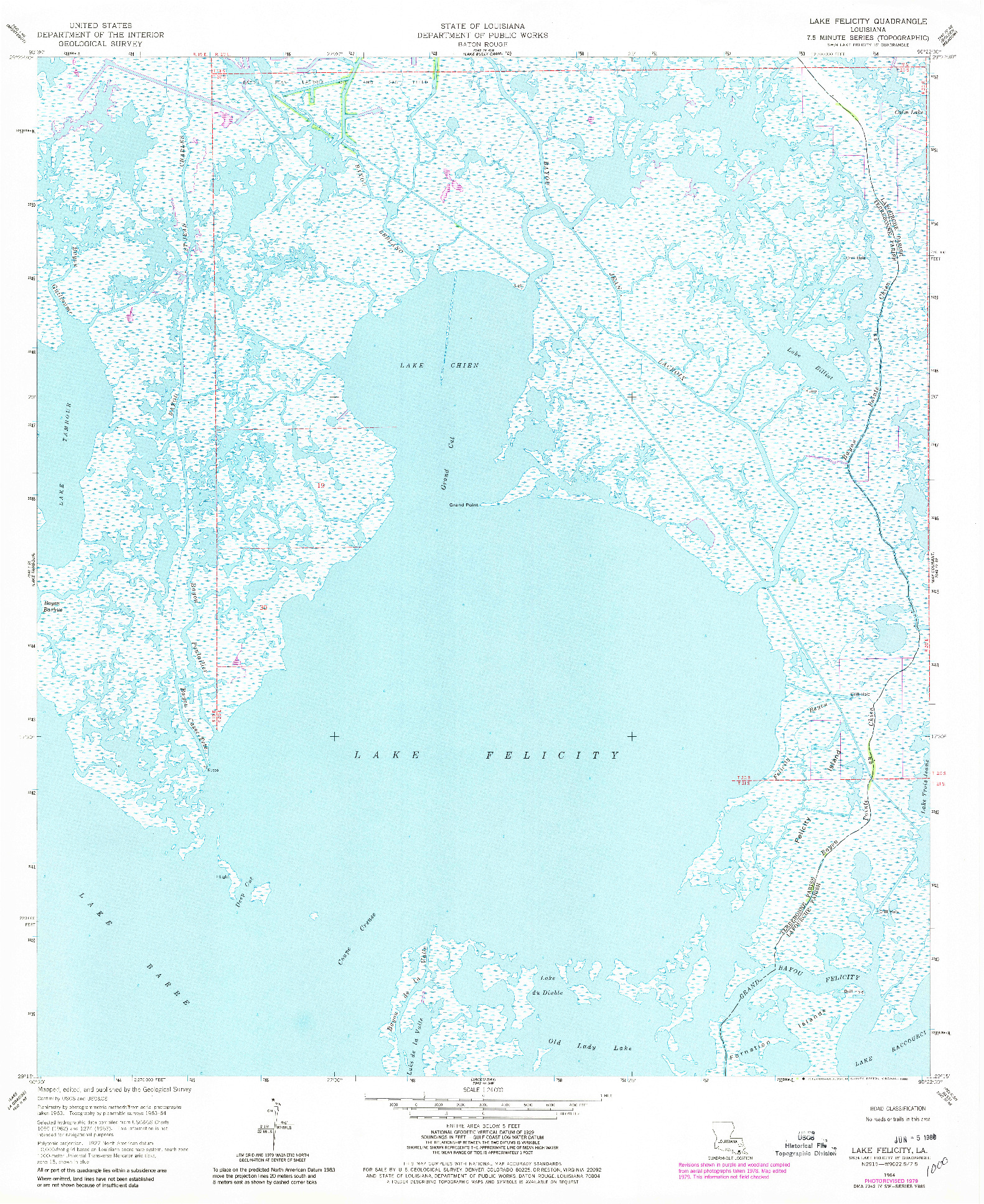 USGS 1:24000-SCALE QUADRANGLE FOR LAKE FELICITY, LA 1964