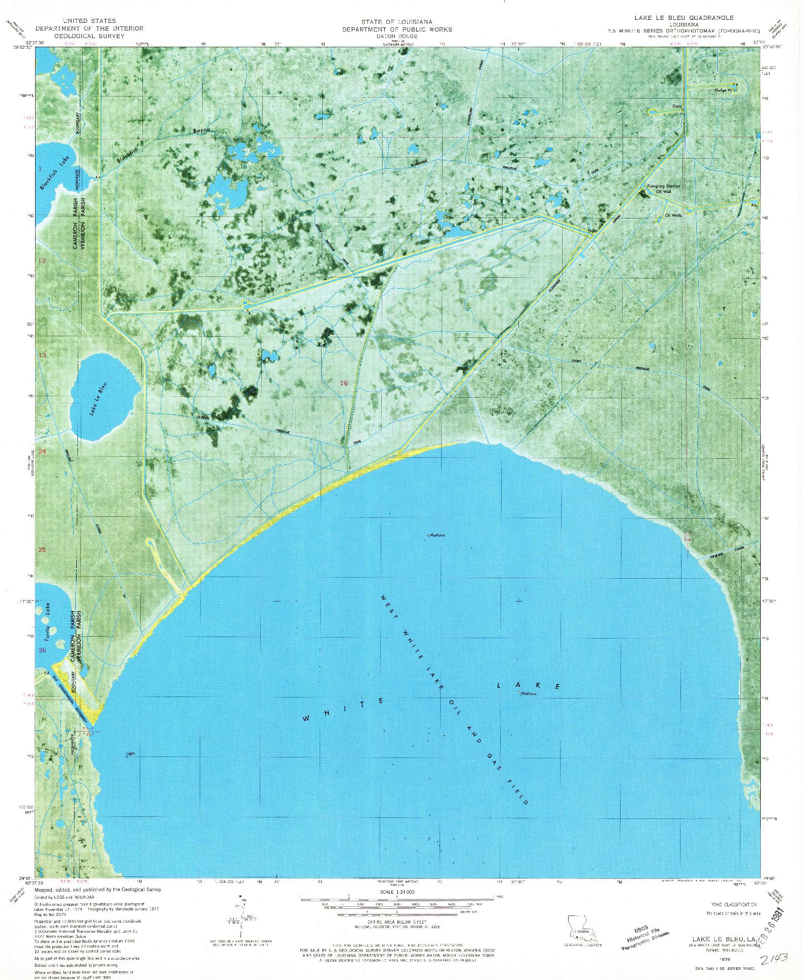 USGS 1:24000-SCALE QUADRANGLE FOR LAKE LE BLEU, LA 1979