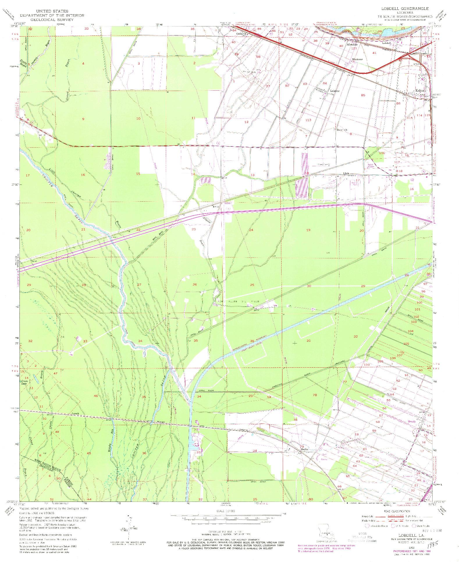 USGS 1:24000-SCALE QUADRANGLE FOR LOBDELL, LA 1953