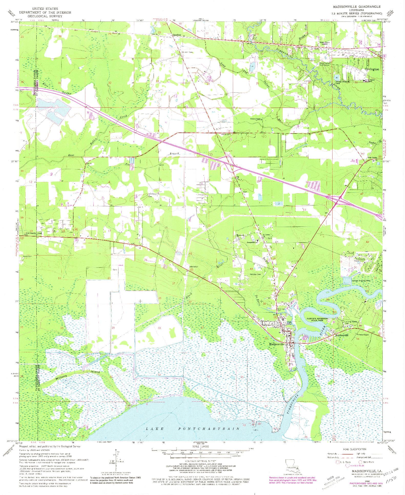 USGS 1:24000-SCALE QUADRANGLE FOR MADISONVILLE, LA 1968