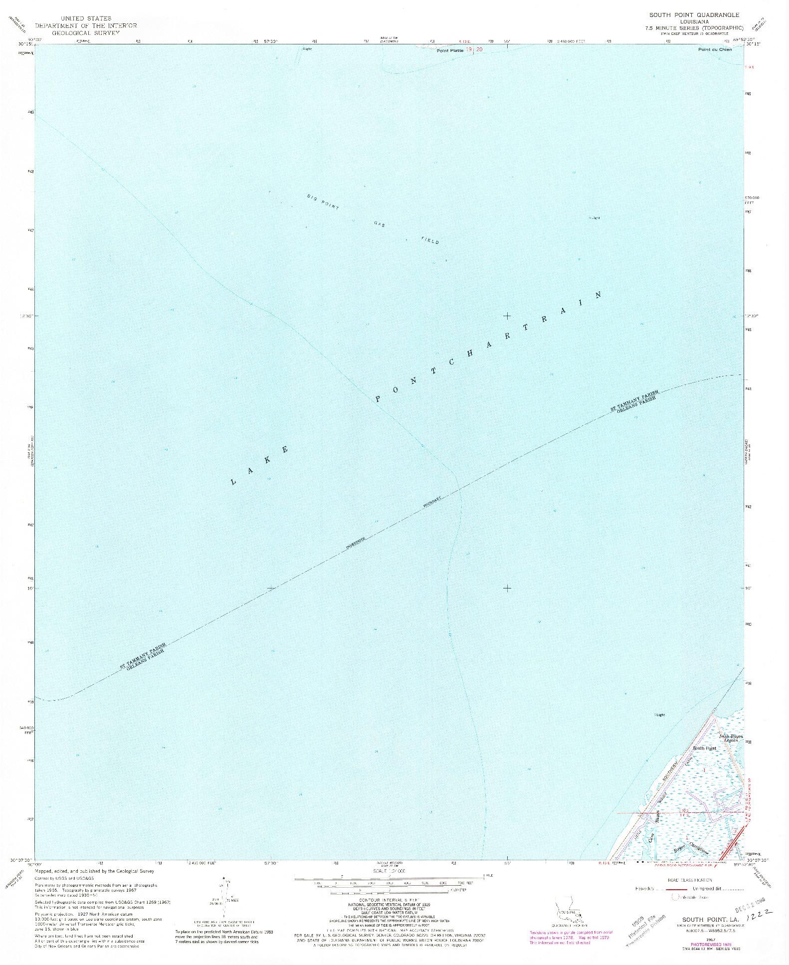 USGS 1:24000-SCALE QUADRANGLE FOR SOUTH POINT, LA 1967