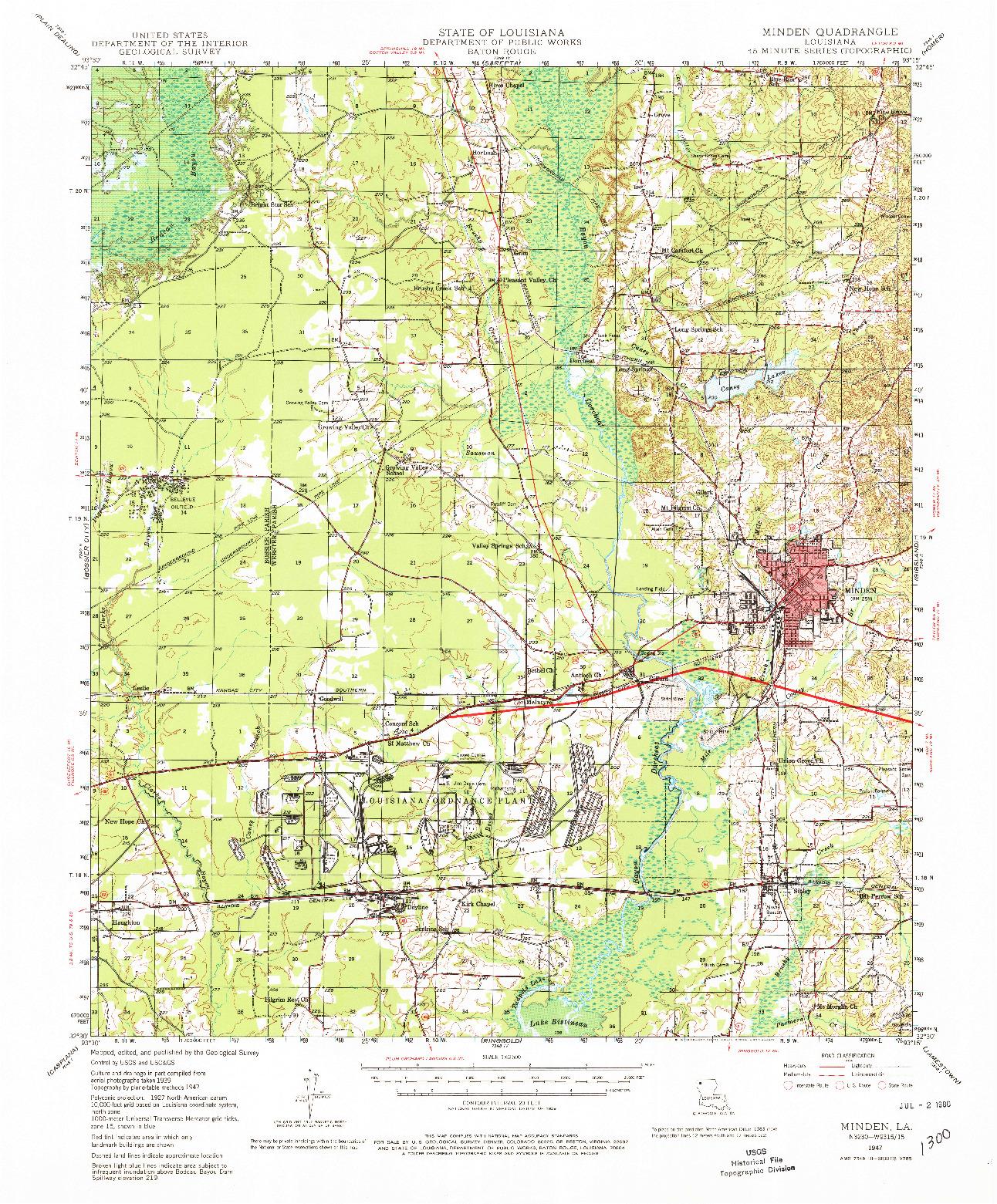 USGS 1:62500-SCALE QUADRANGLE FOR MINDEN, LA 1947