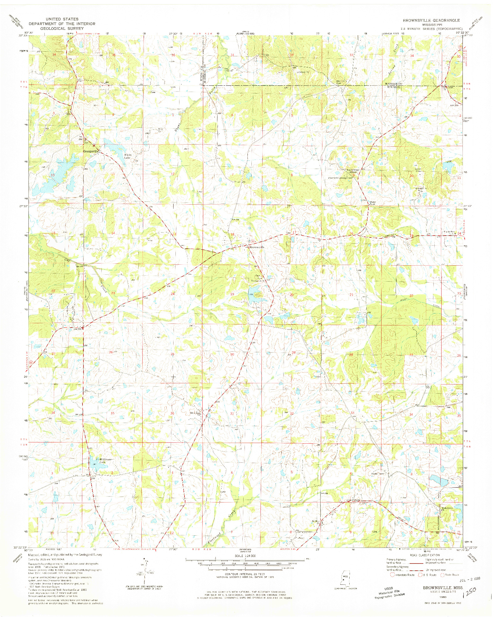 USGS 1:24000-SCALE QUADRANGLE FOR BROWNSVILLE, MS 1980