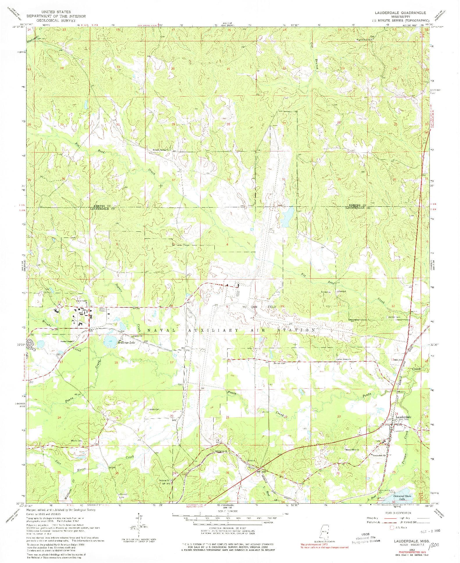 USGS 1:24000-SCALE QUADRANGLE FOR LAUDERDALE, MS 1962