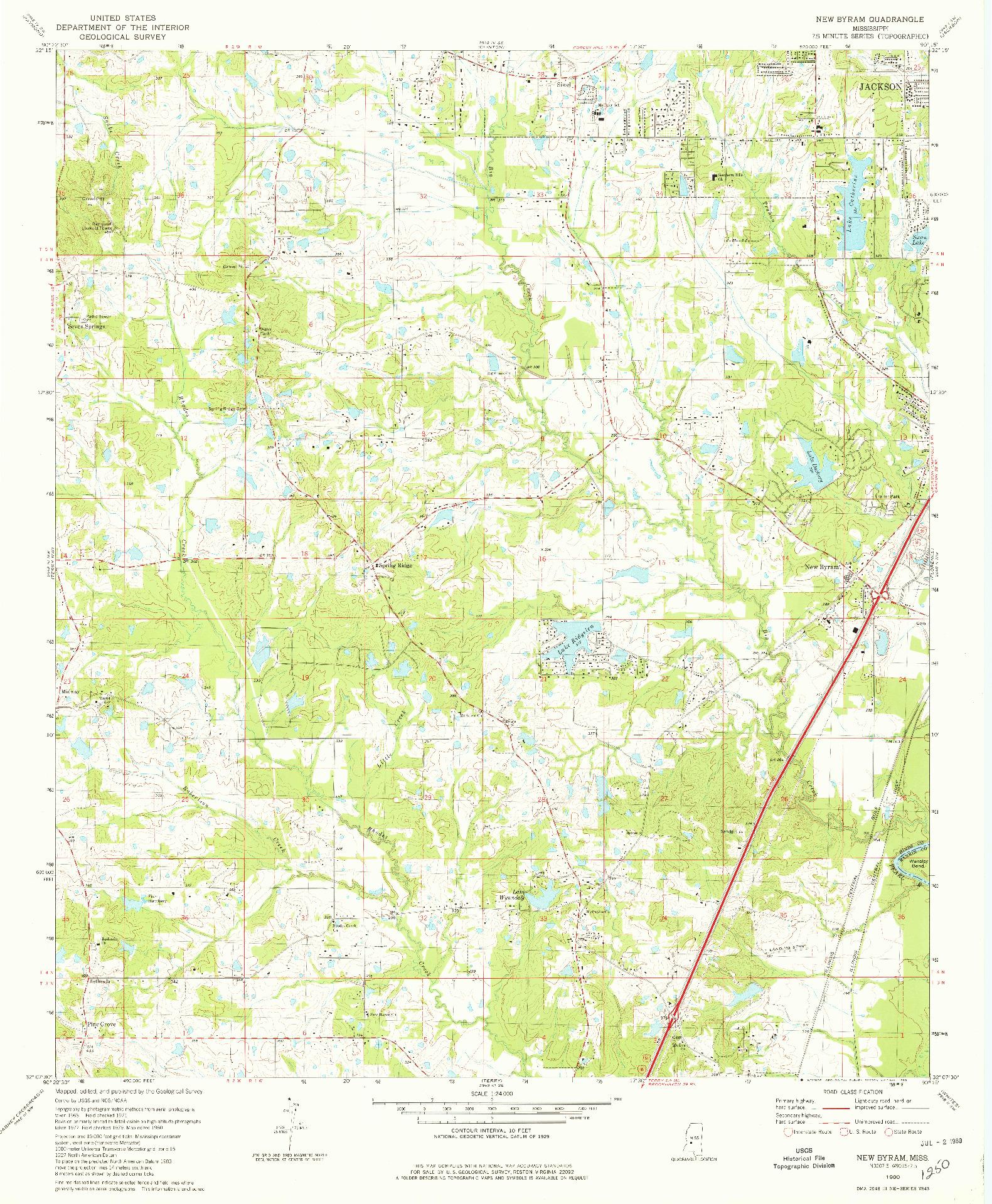 USGS 1:24000-SCALE QUADRANGLE FOR NEW BYRAM, MS 1980