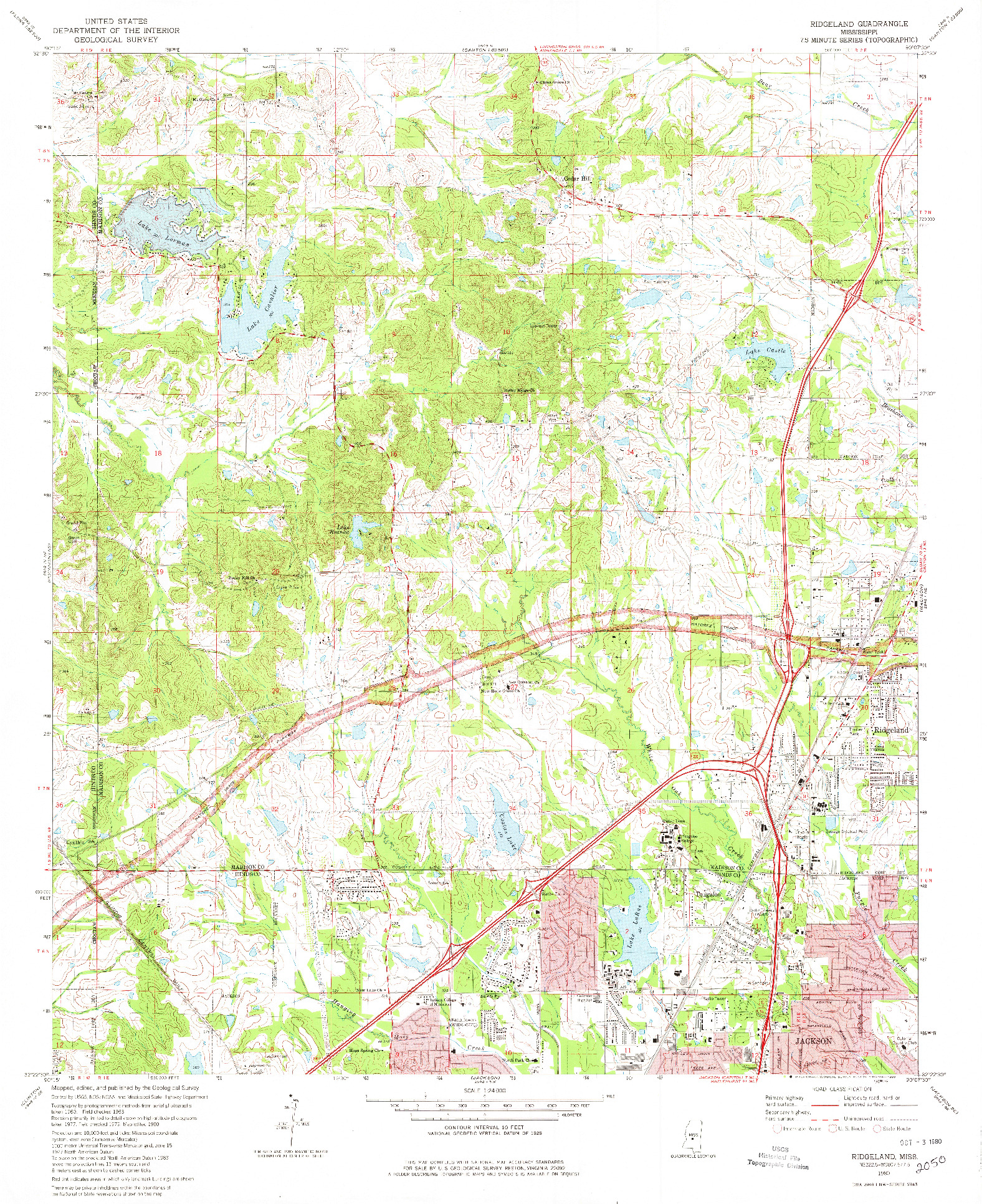 USGS 1:24000-SCALE QUADRANGLE FOR RIDGELAND, MS 1980