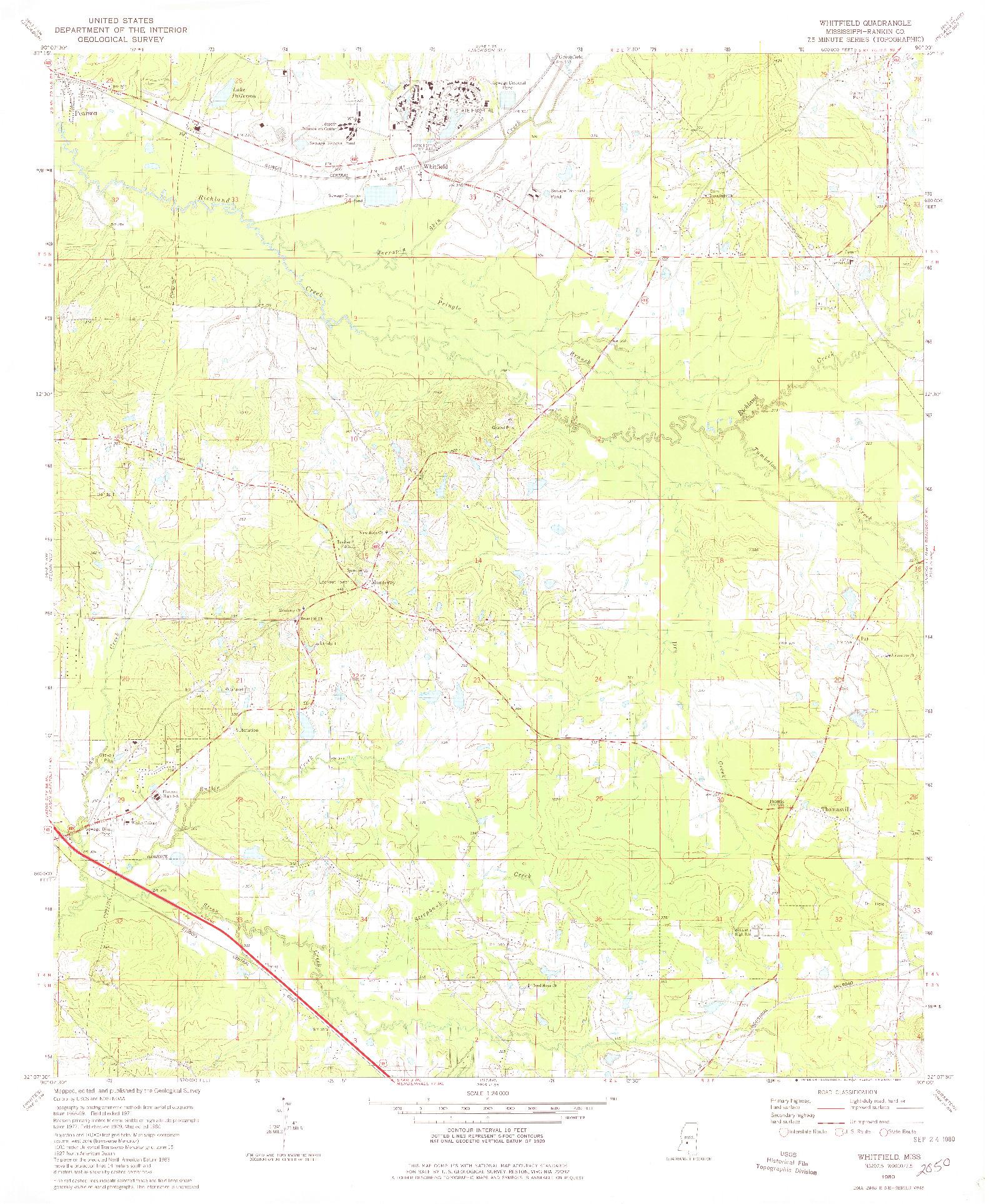 USGS 1:24000-SCALE QUADRANGLE FOR WHITFIELD, MS 1980