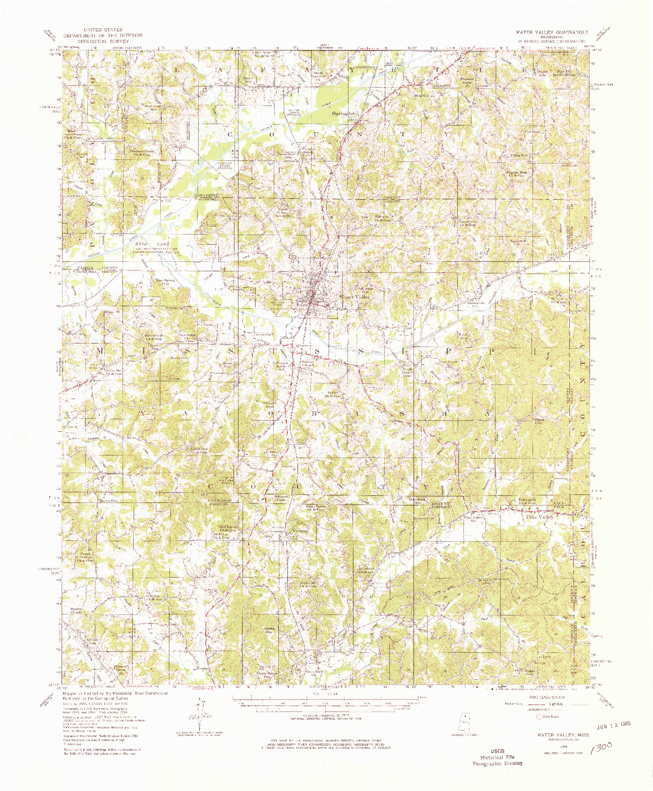 USGS 1:62500-SCALE QUADRANGLE FOR WATER VALLEY, MS 1954