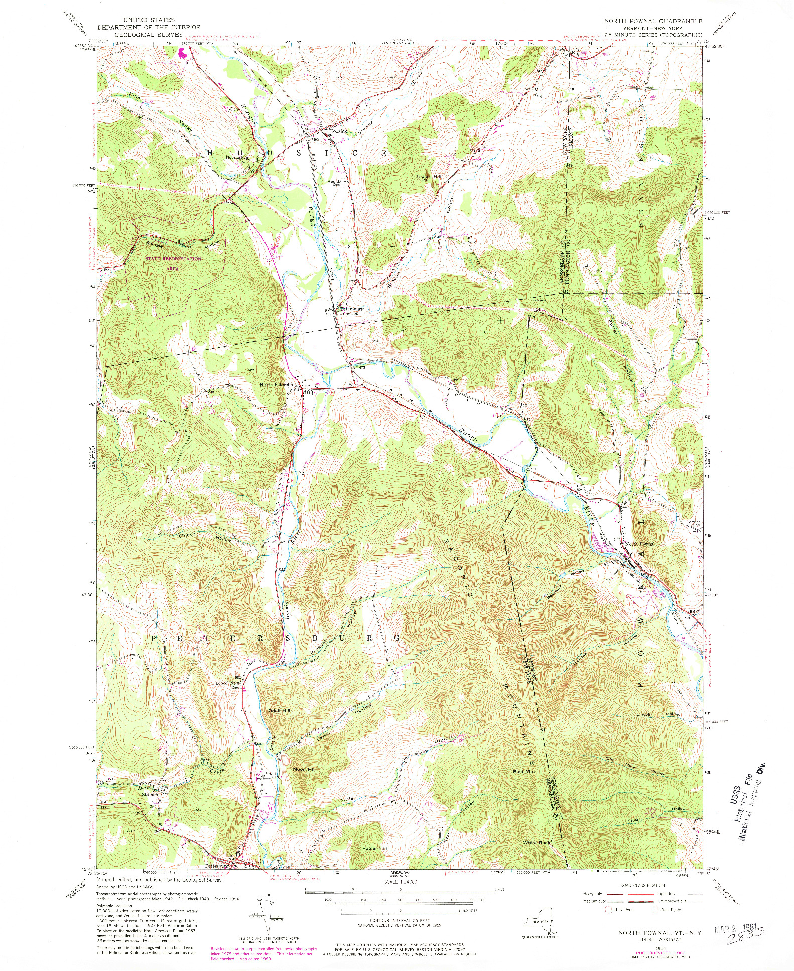 USGS 1:24000-SCALE QUADRANGLE FOR NORTH POWNAL, VT 1954