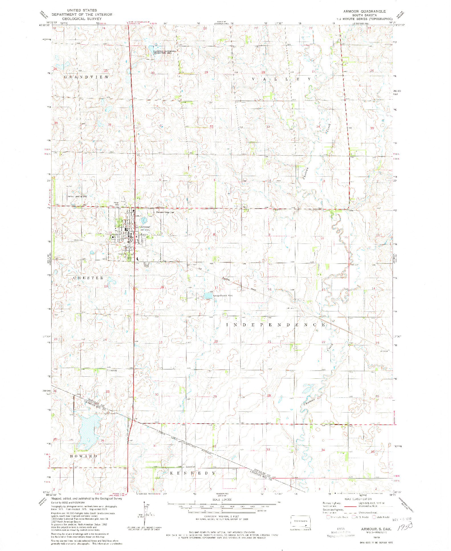 USGS 1:24000-SCALE QUADRANGLE FOR ARMOUR, SD 1979
