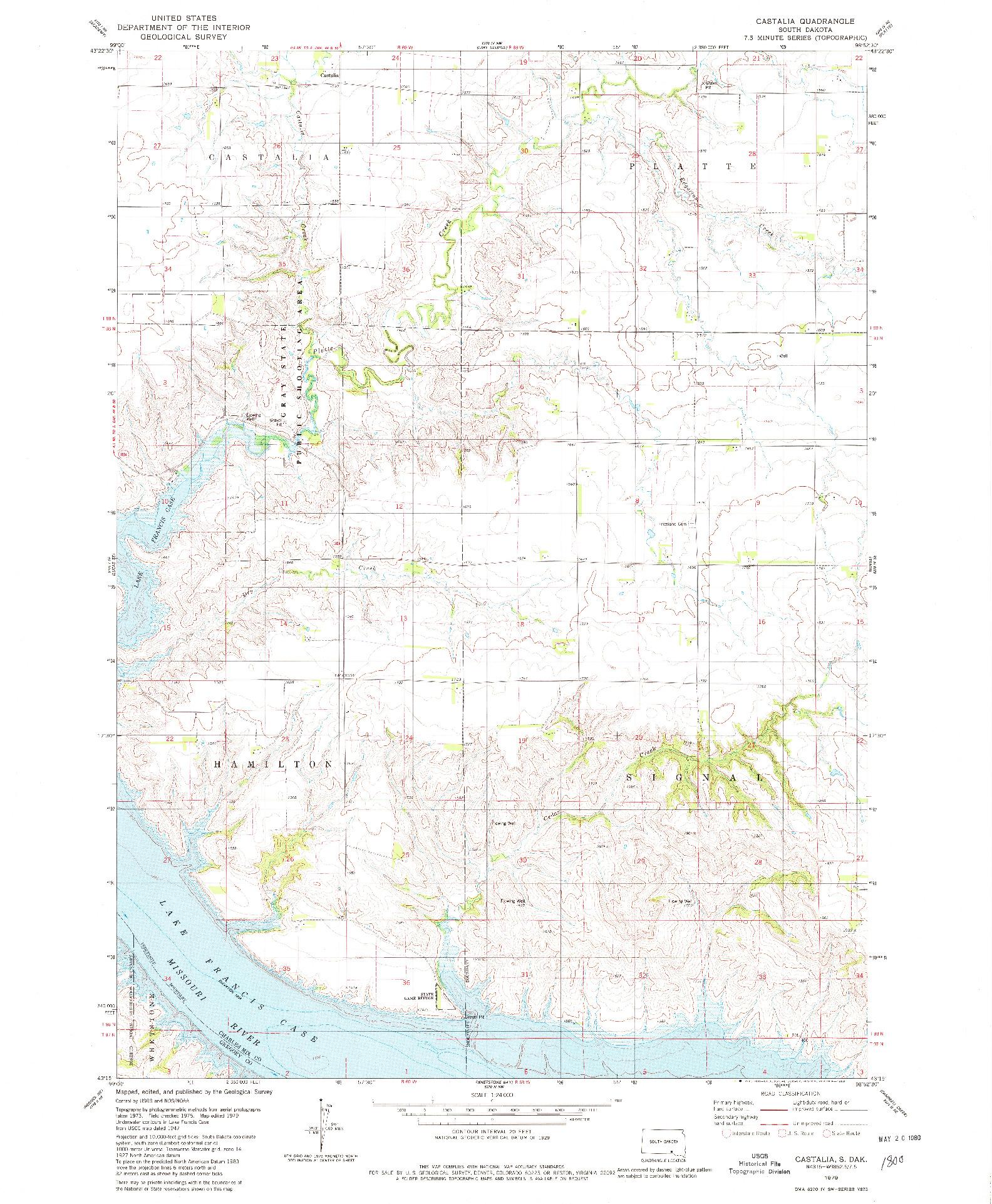 USGS 1:24000-SCALE QUADRANGLE FOR CASTALIA, SD 1979
