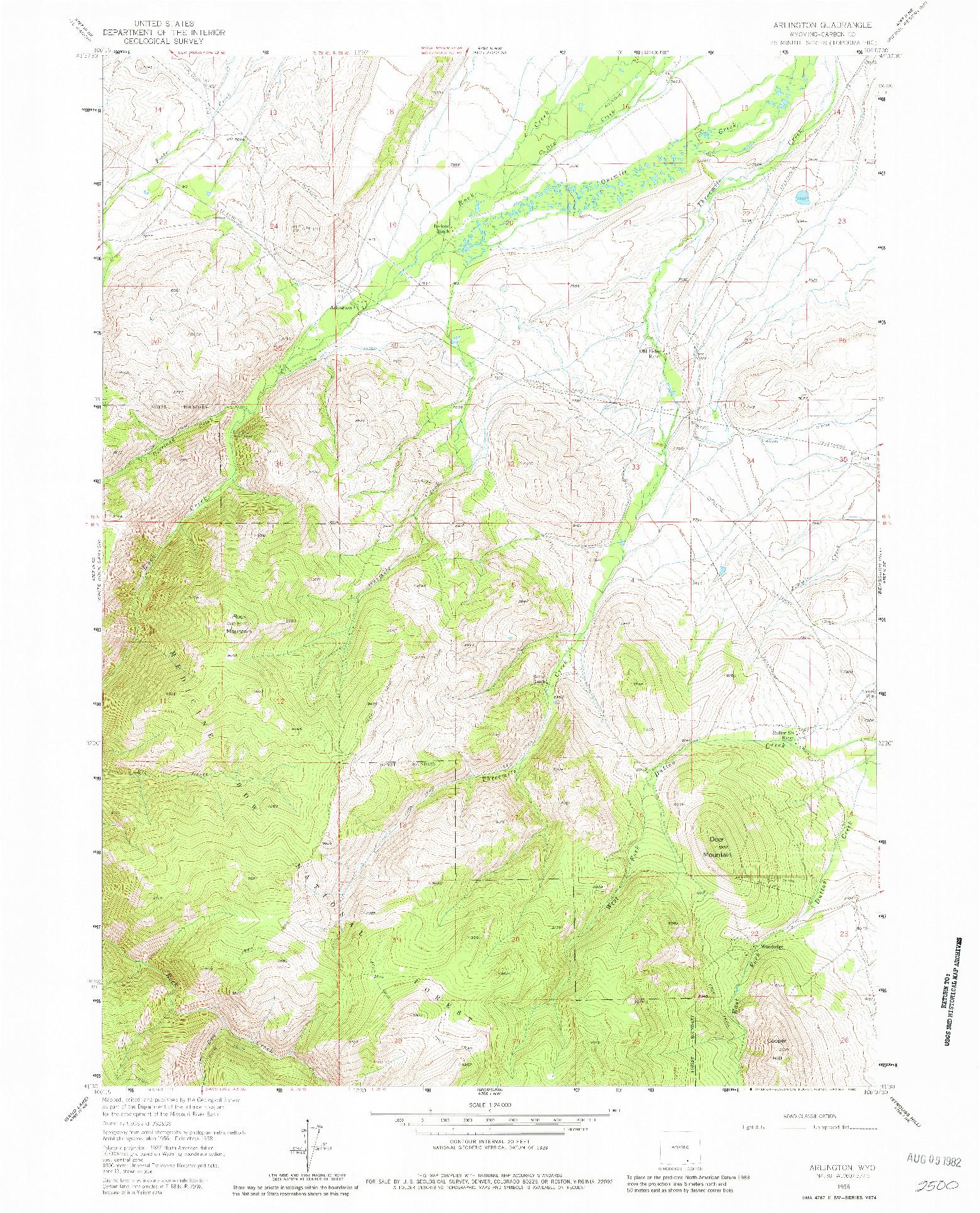 USGS 1:24000-SCALE QUADRANGLE FOR ARLINGTON, WY 1958