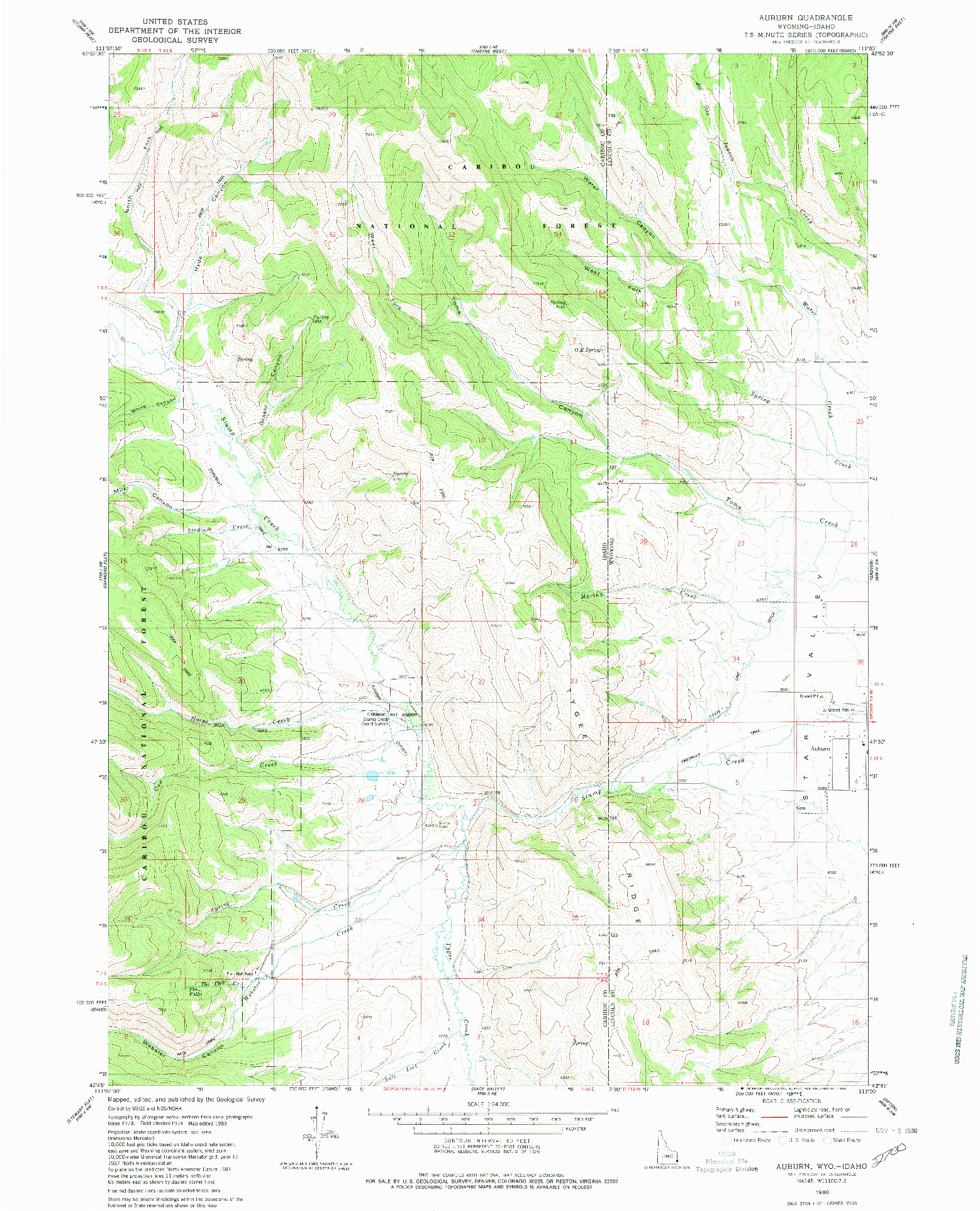 USGS 1:24000-SCALE QUADRANGLE FOR AUBURN, WY 1980